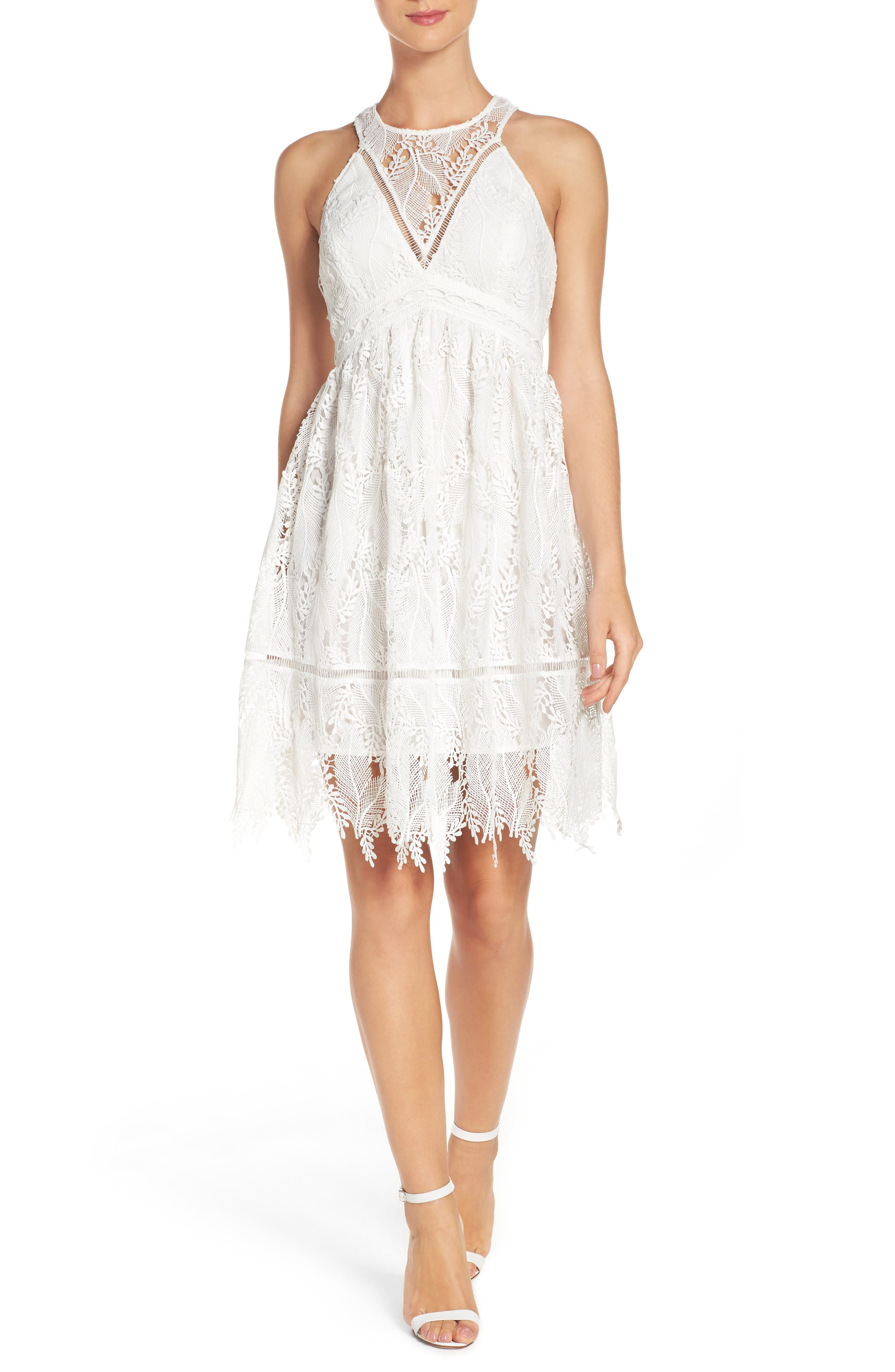 Lace Fit & Flare Dress,                         Main,                         color, White