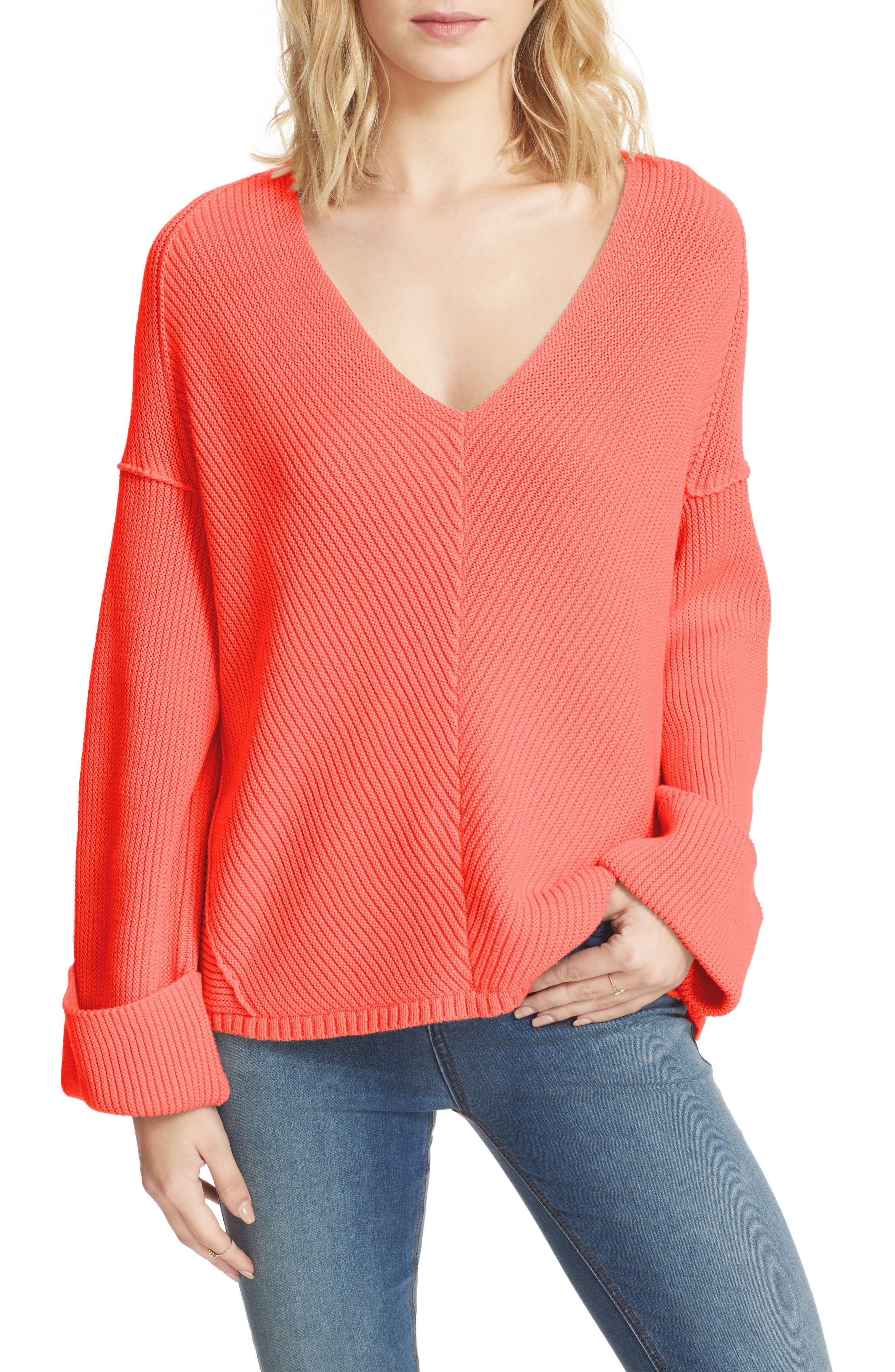 La Brea V-Neck Sweater,                         Main,                         color, Coral
