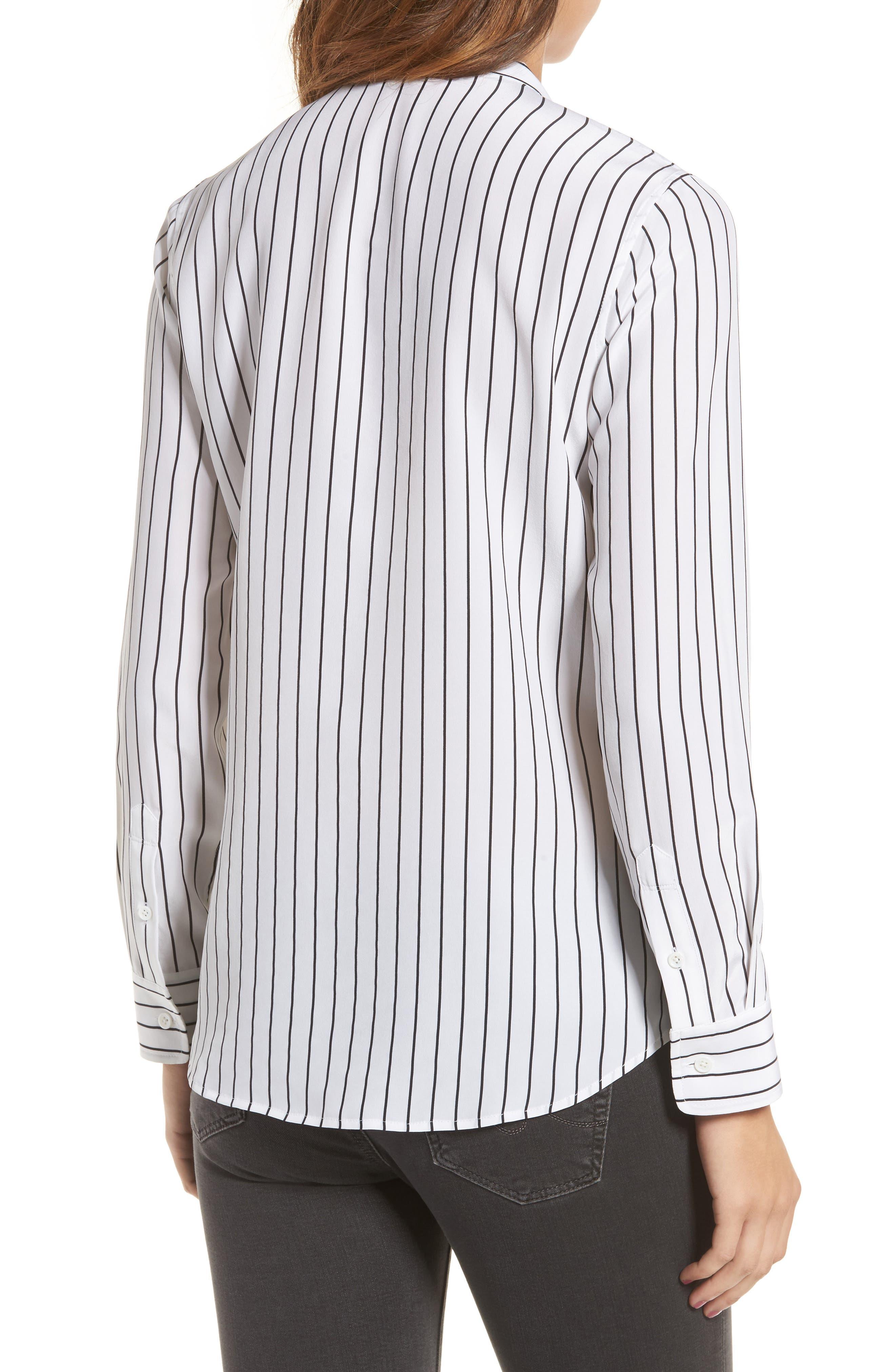 Claire Stripe Silk Shirt,                             Alternate thumbnail 2, color,                             True White / True Black Stripe