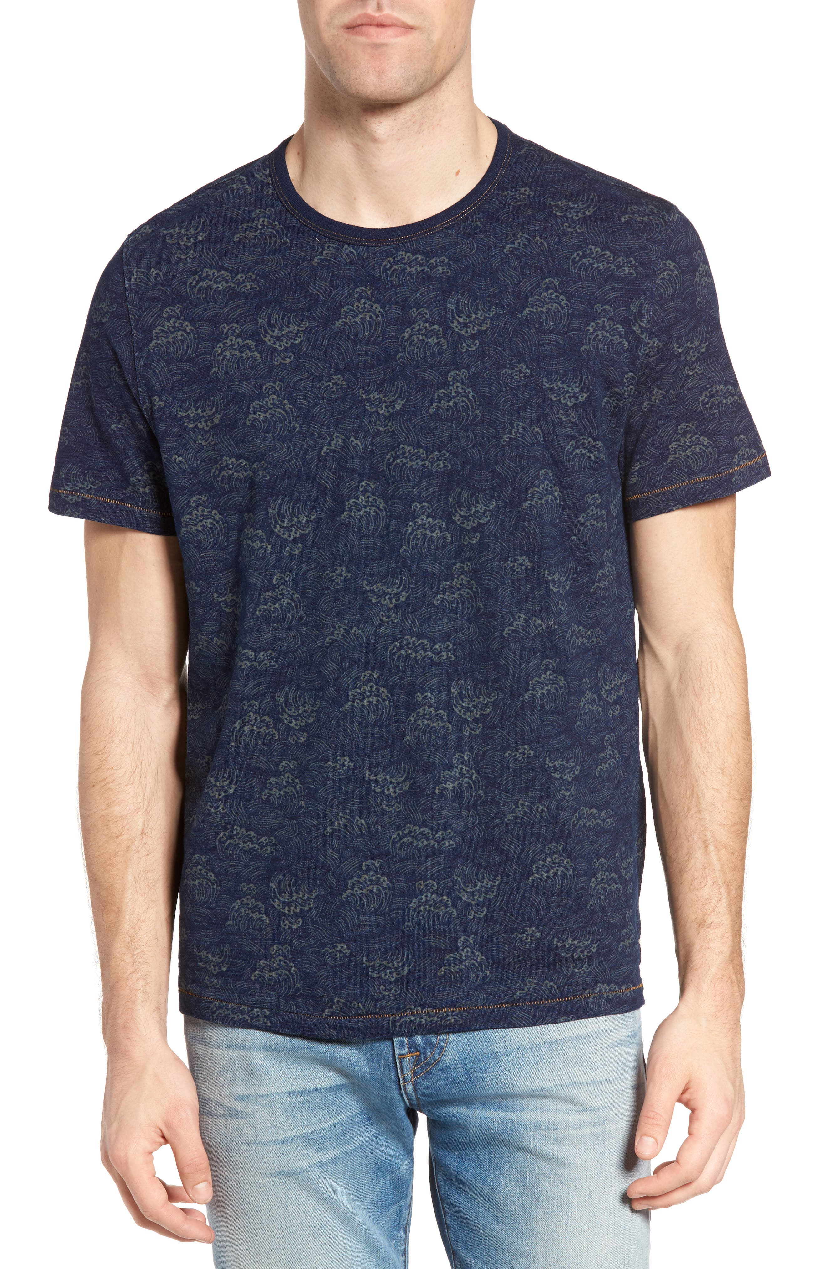 Swell Print Indigo Slub Jersey T-Shirt,                         Main,                         color, Admiral