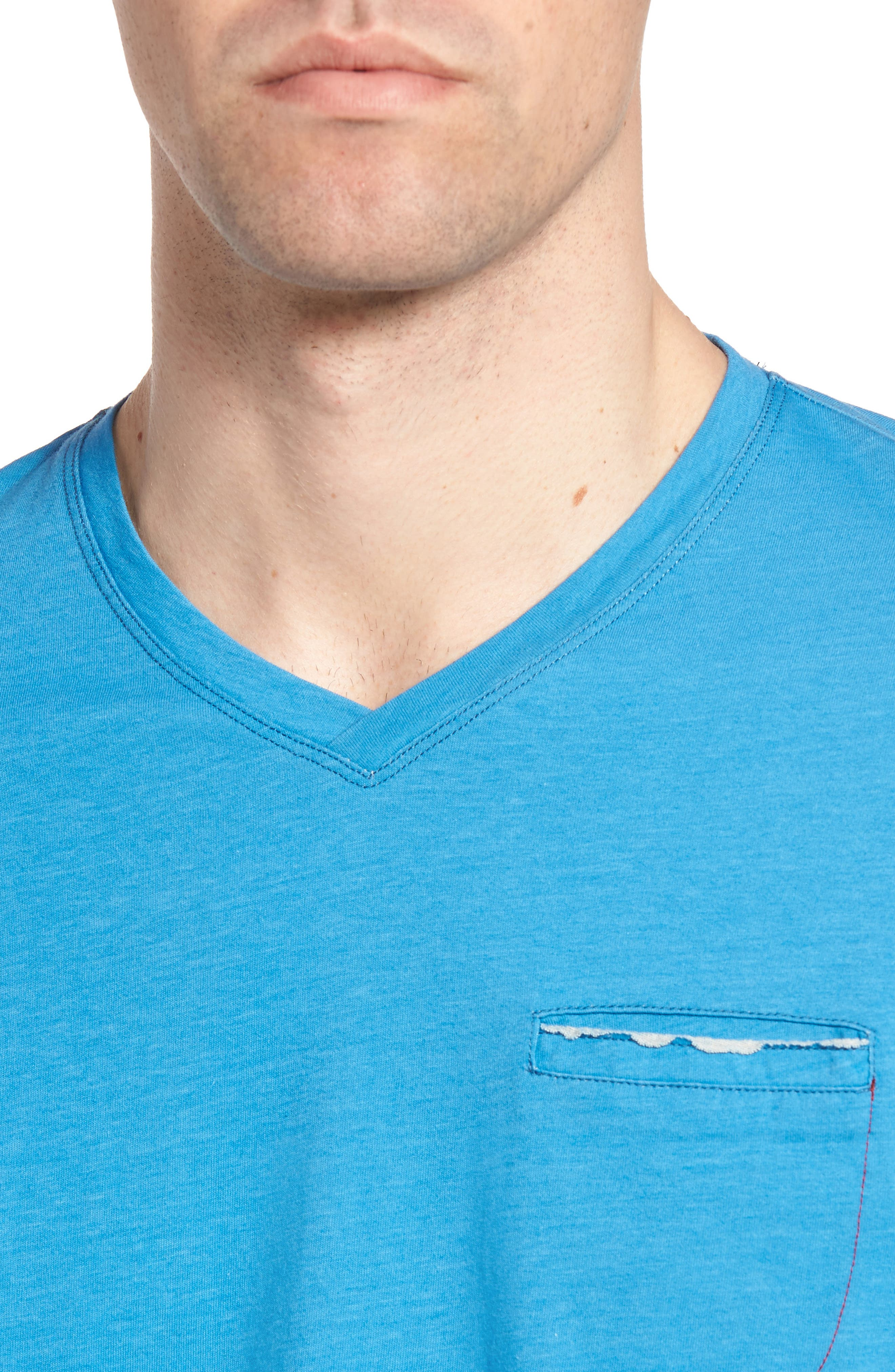 Gus Pad Pocket V-Neck T-Shirt,                             Alternate thumbnail 4, color,                             Mykonos Blue