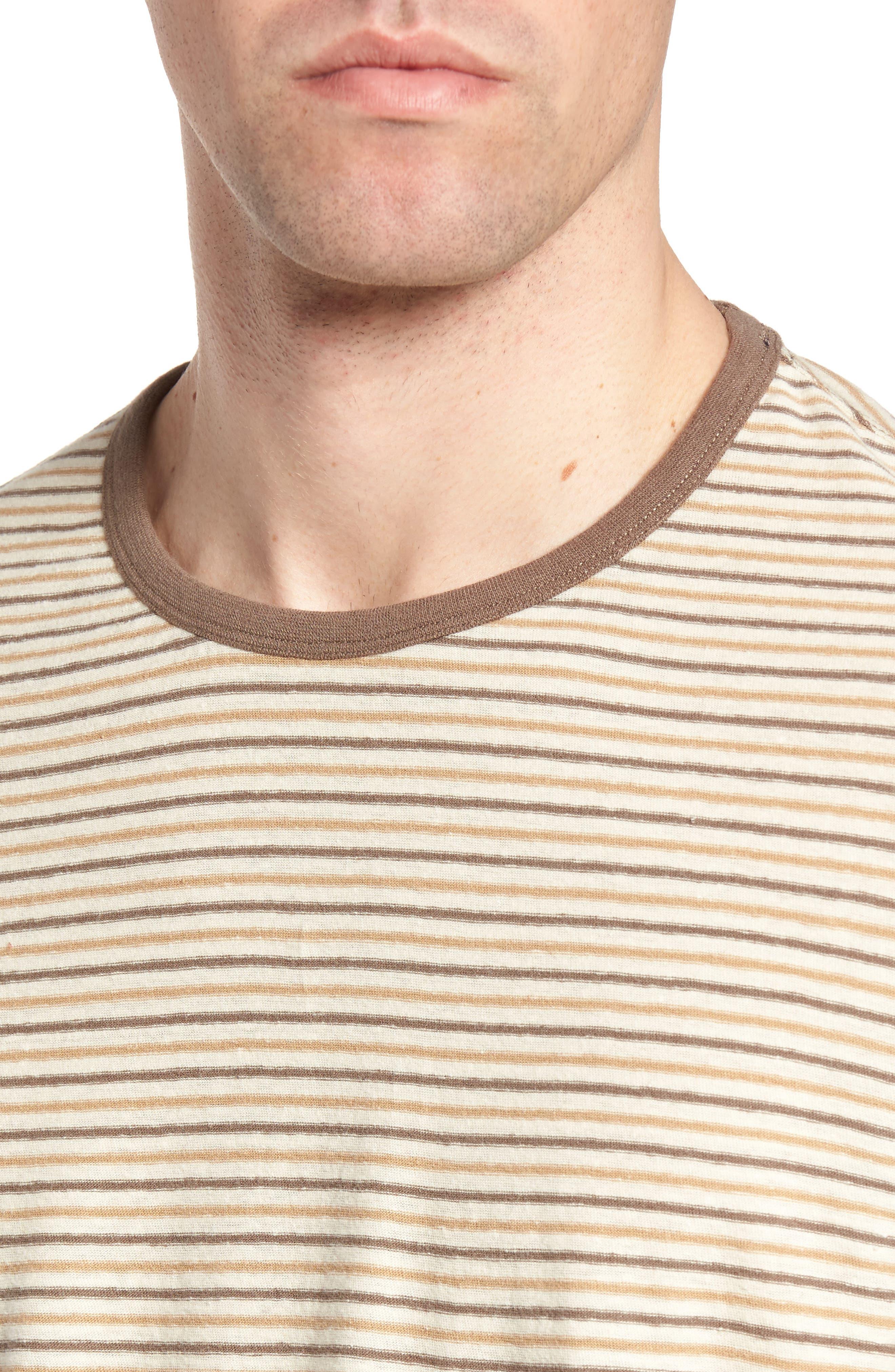 Bengal Reverse Stripe T-Shirt,                             Alternate thumbnail 4, color,                             Angora