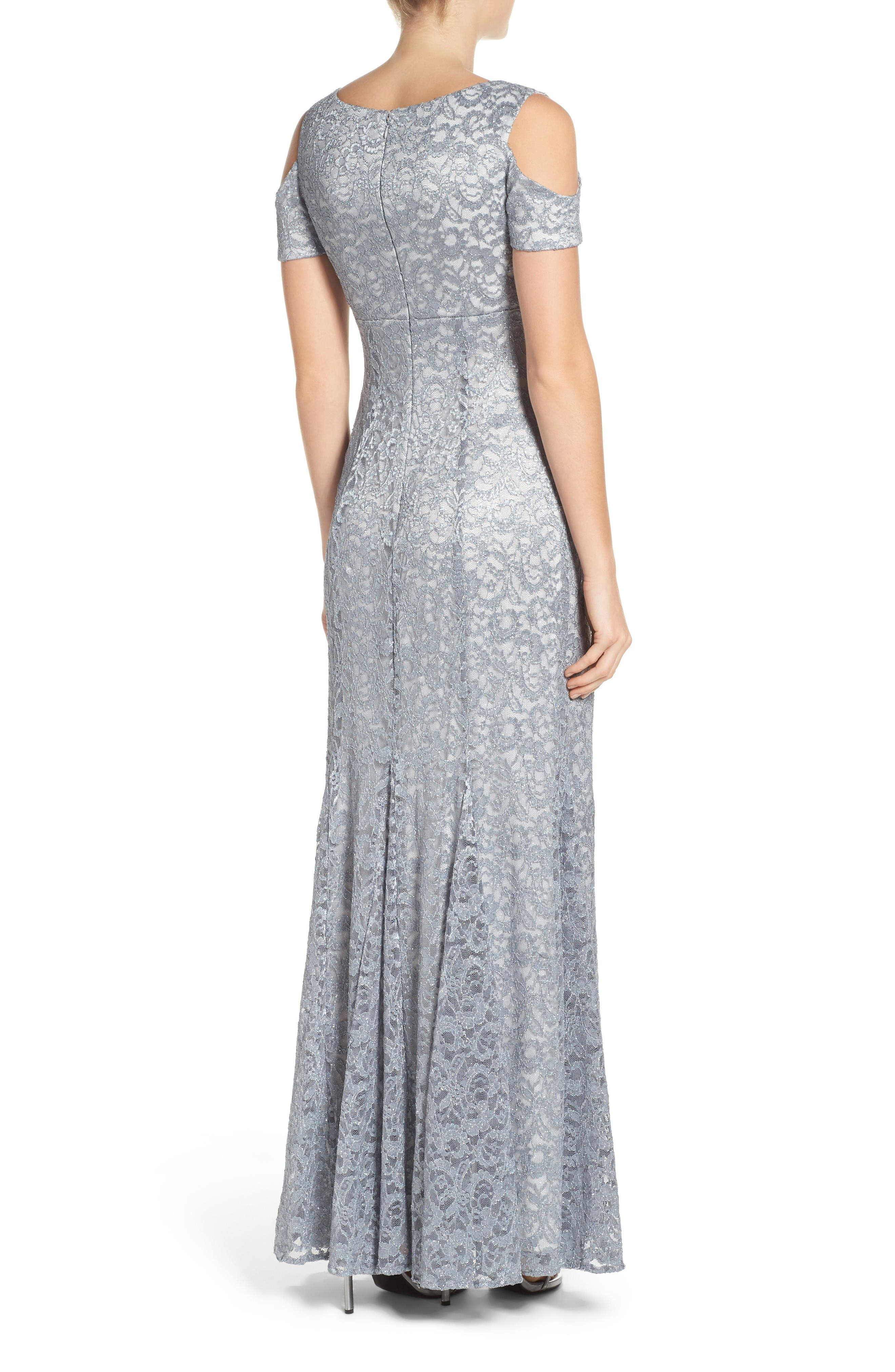 Alternate Image 2  - Morgan & Co. Cold Shoulder Lace Gown