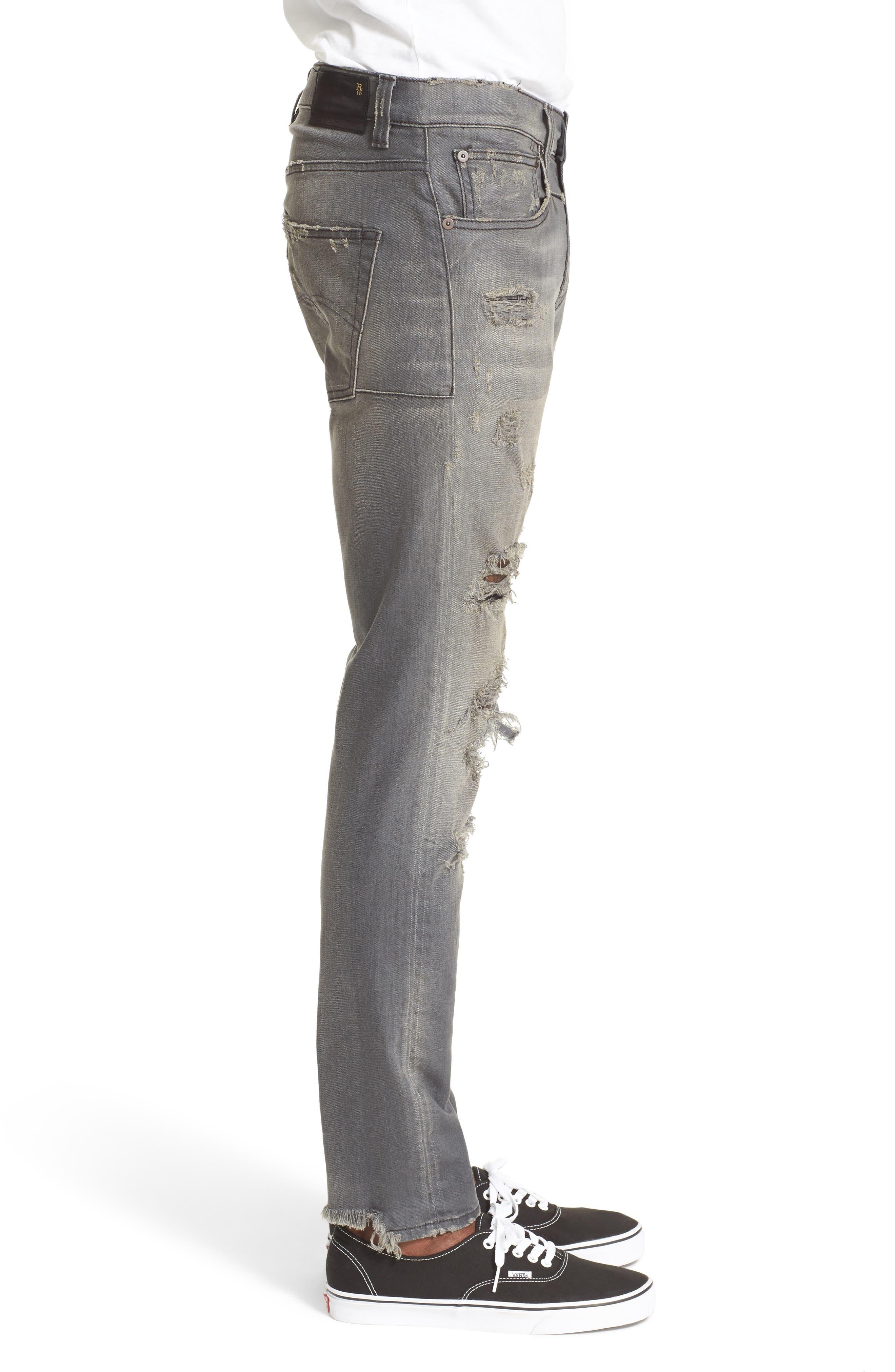 Skate Shredded Skinny Jeans,                             Alternate thumbnail 3, color,                             Grey