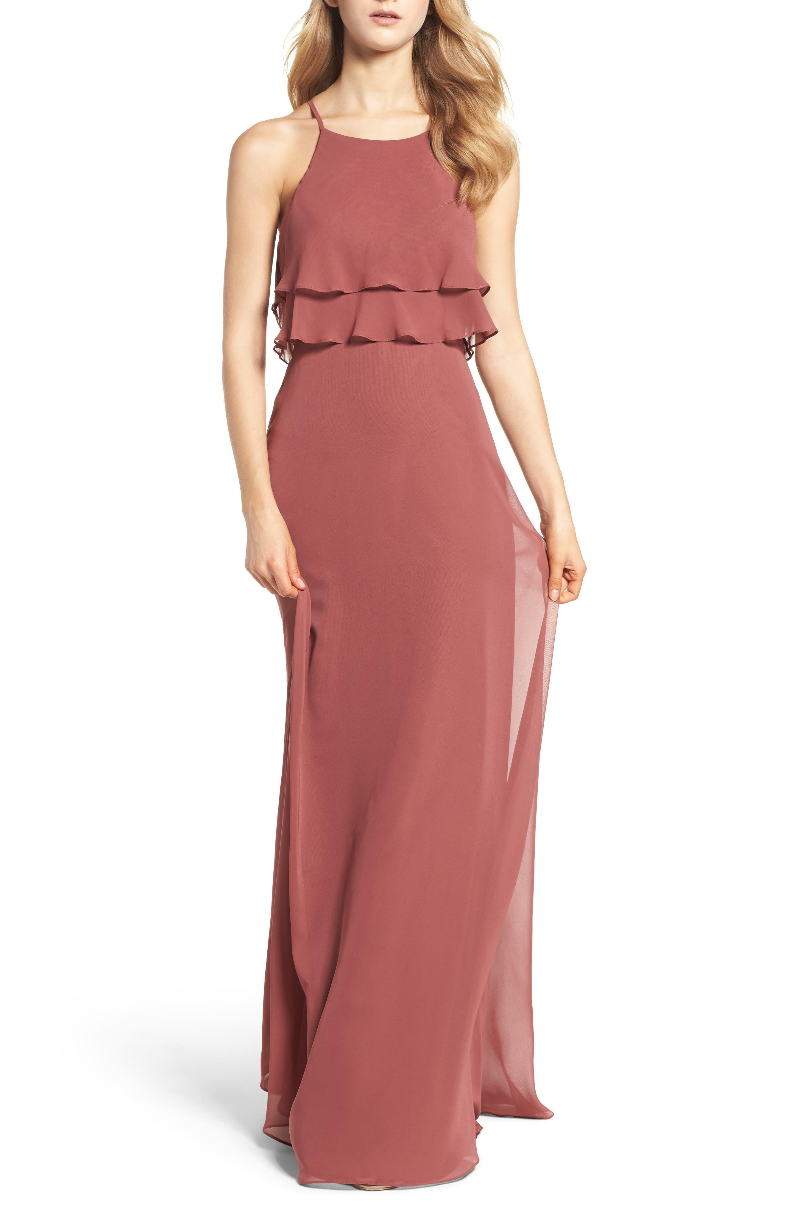 Main Image - Jenny Yoo Charlie Ruffle Bodice Gown