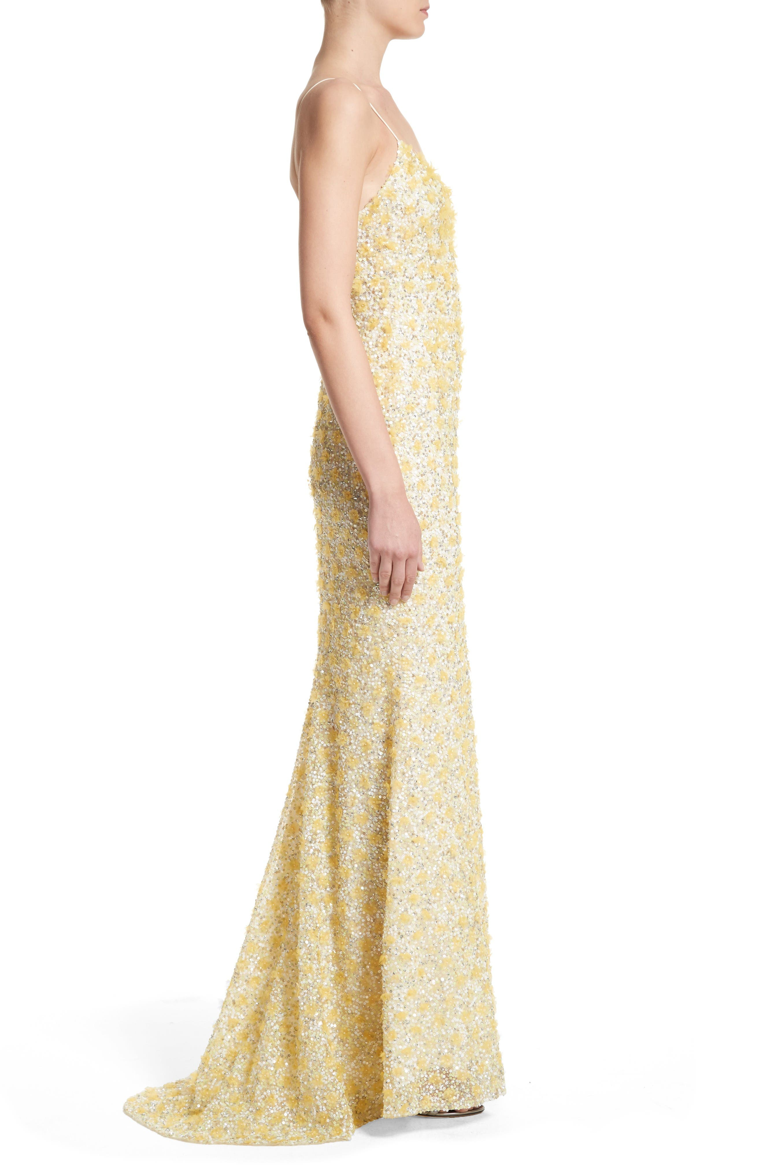 Badgley Mischka Couture Embellished Gown,                             Alternate thumbnail 4, color,                             Yellow