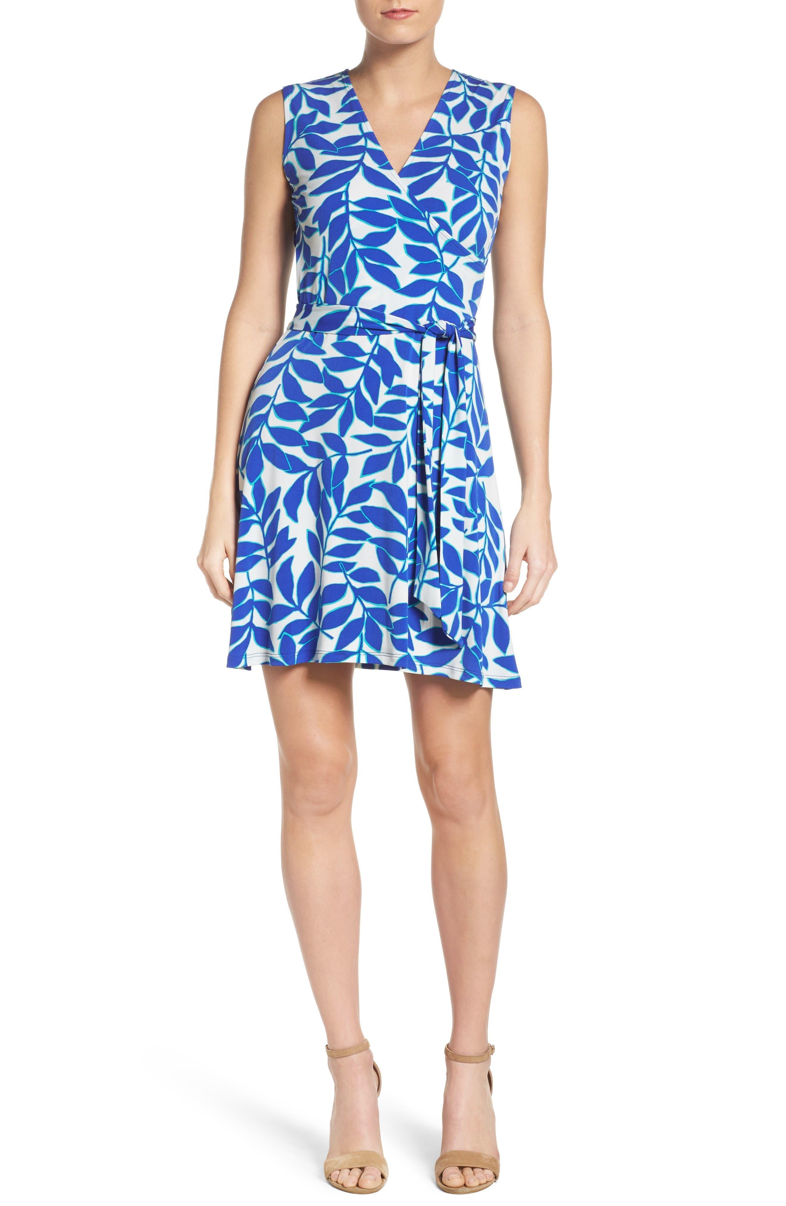 Perfect Faux Wrap Dress,                             Alternate thumbnail 4, color,                             Blue Ivy