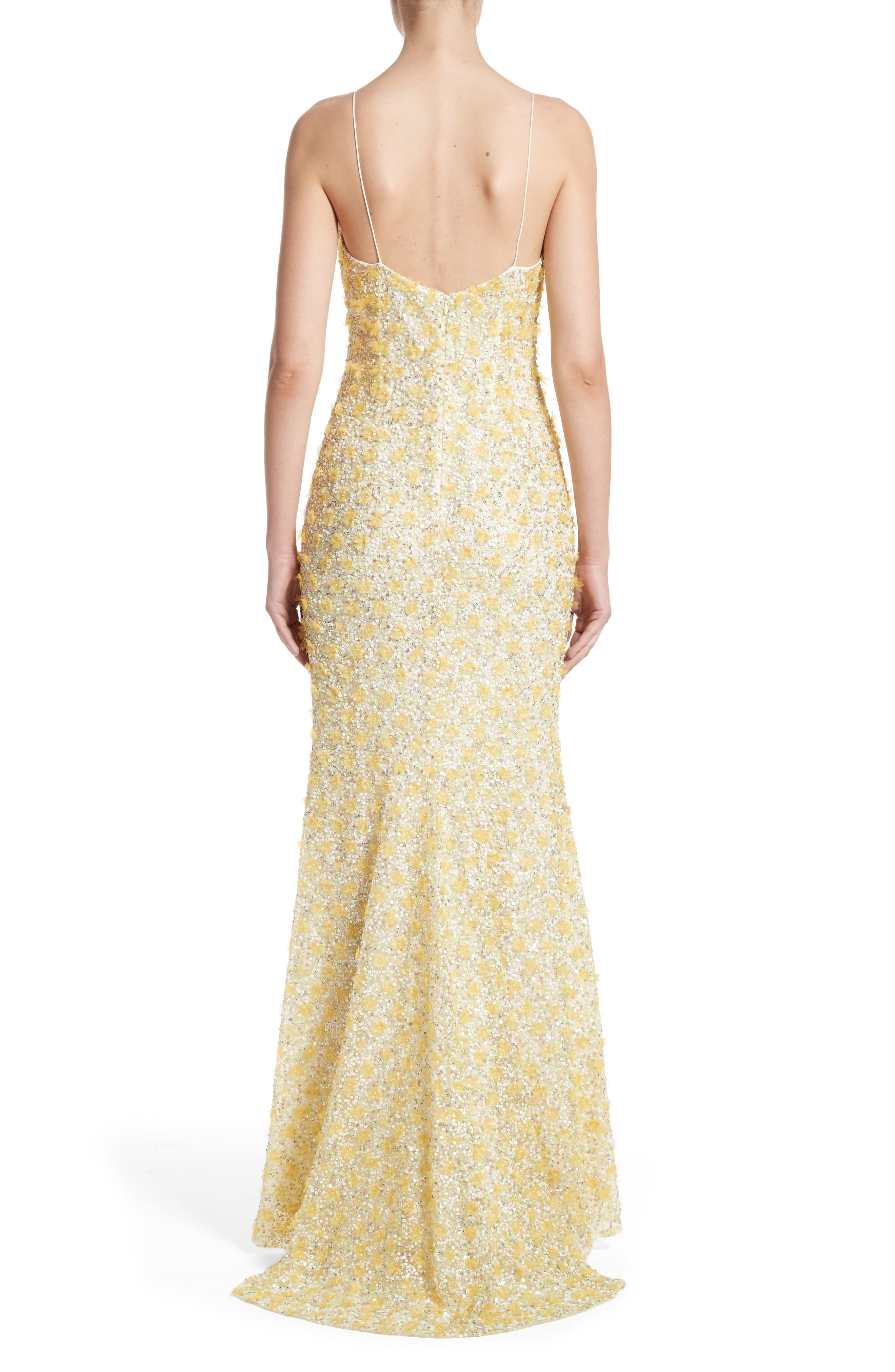 Badgley Mischka Couture Embellished Gown,                             Alternate thumbnail 2, color,                             Yellow