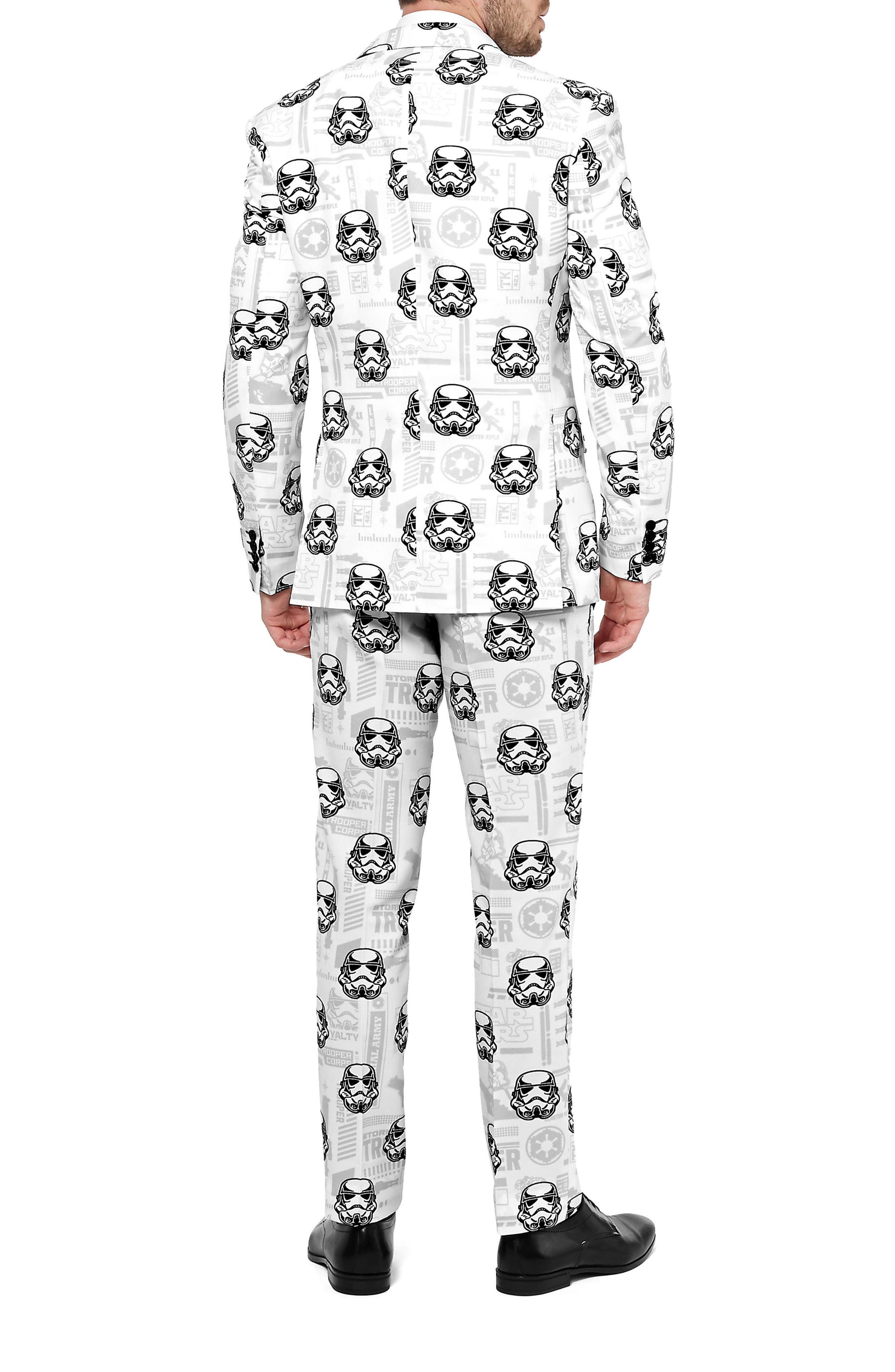 Stormtrooper Trim Fit Two-Piece Suit with Tie,                             Alternate thumbnail 3, color,                             White/ Multi