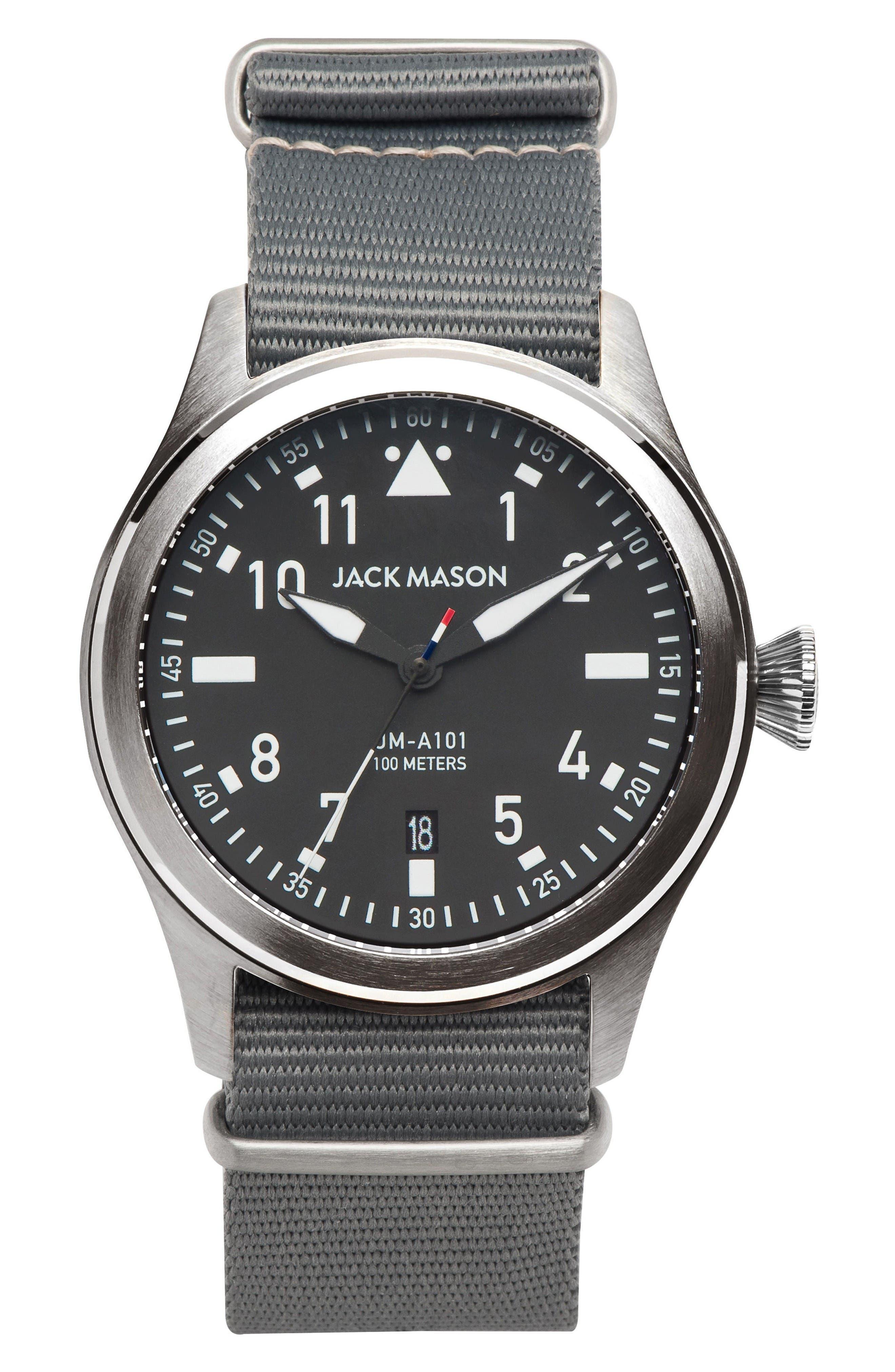 Aviation NATO Strap Watch, 42mm,                         Main,                         color, Grey/ Grey