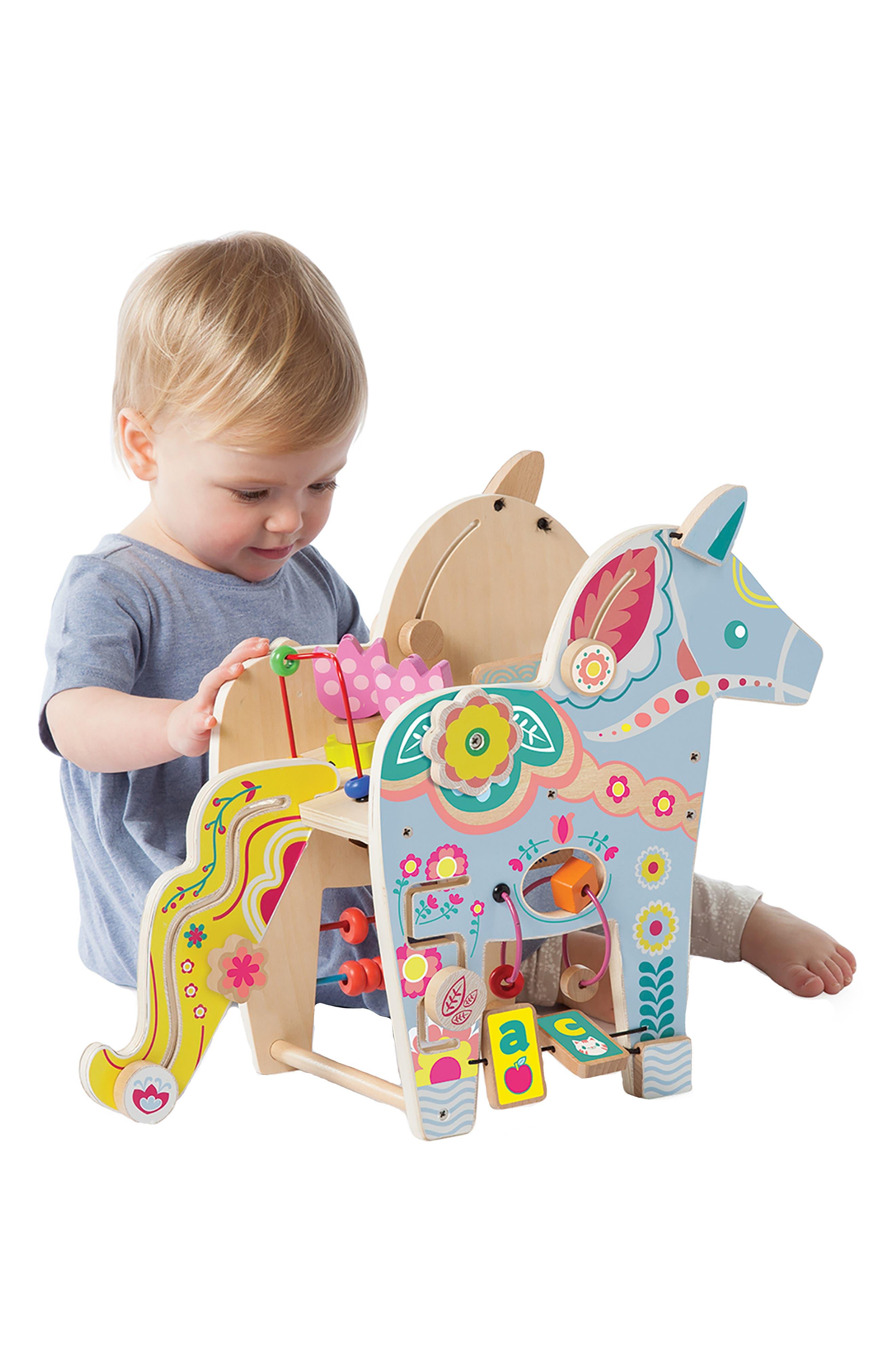 Wooden Playful Pony Activity Center,                             Alternate thumbnail 2, color,                             Blue