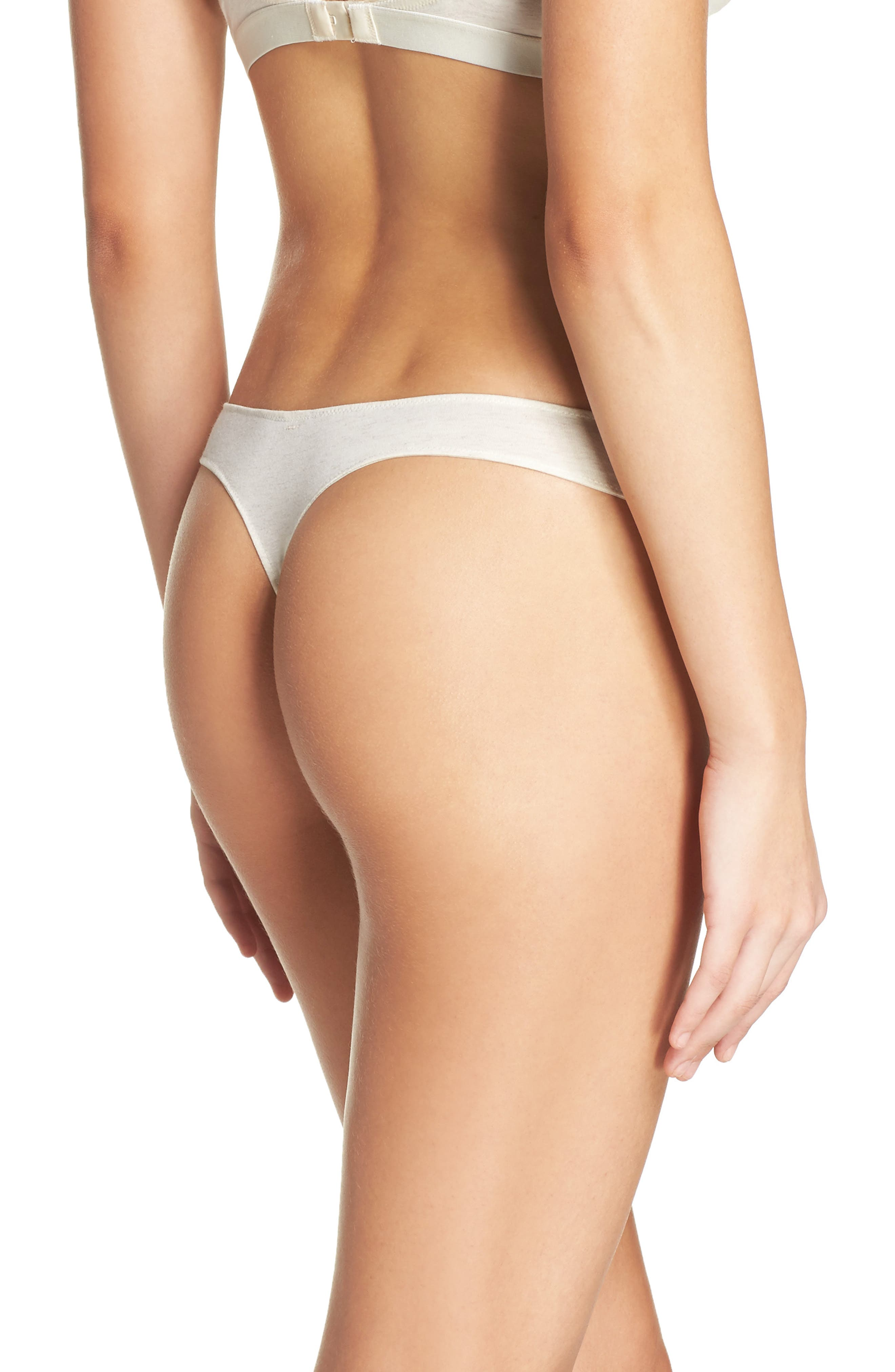 Jersey Thong,                             Alternate thumbnail 2, color,                             Heather Bisque