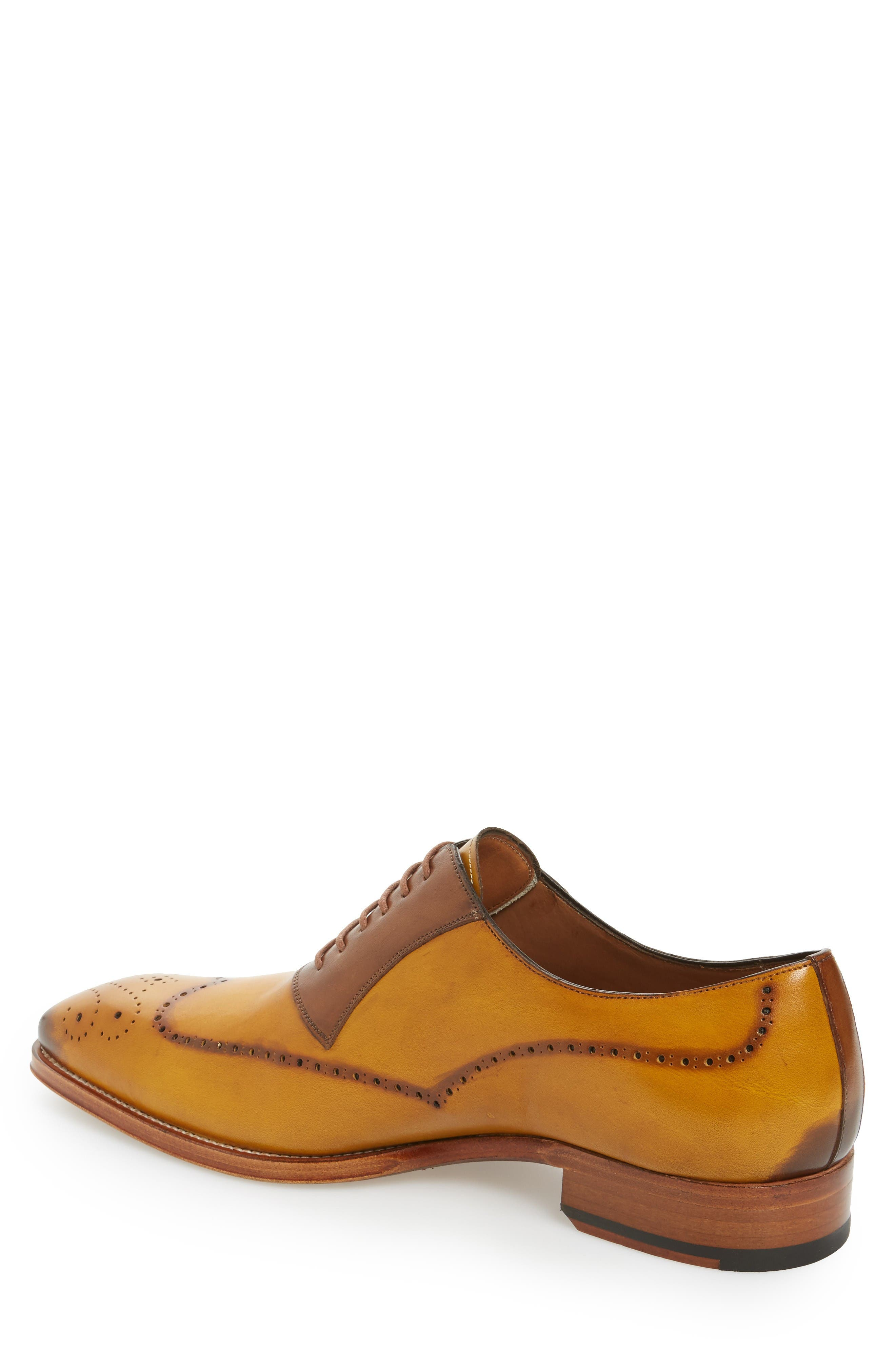 Kelvin Faux Wingtip,                             Alternate thumbnail 2, color,                             Mustard/ Tan Leather