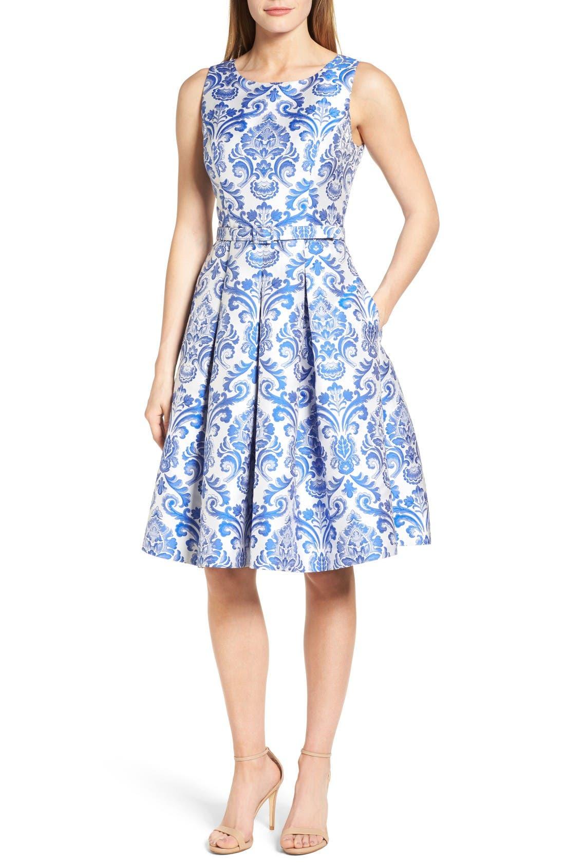 Main Image - Eliza J Jacquard Fit & Flare Dress (Regular & Petite)