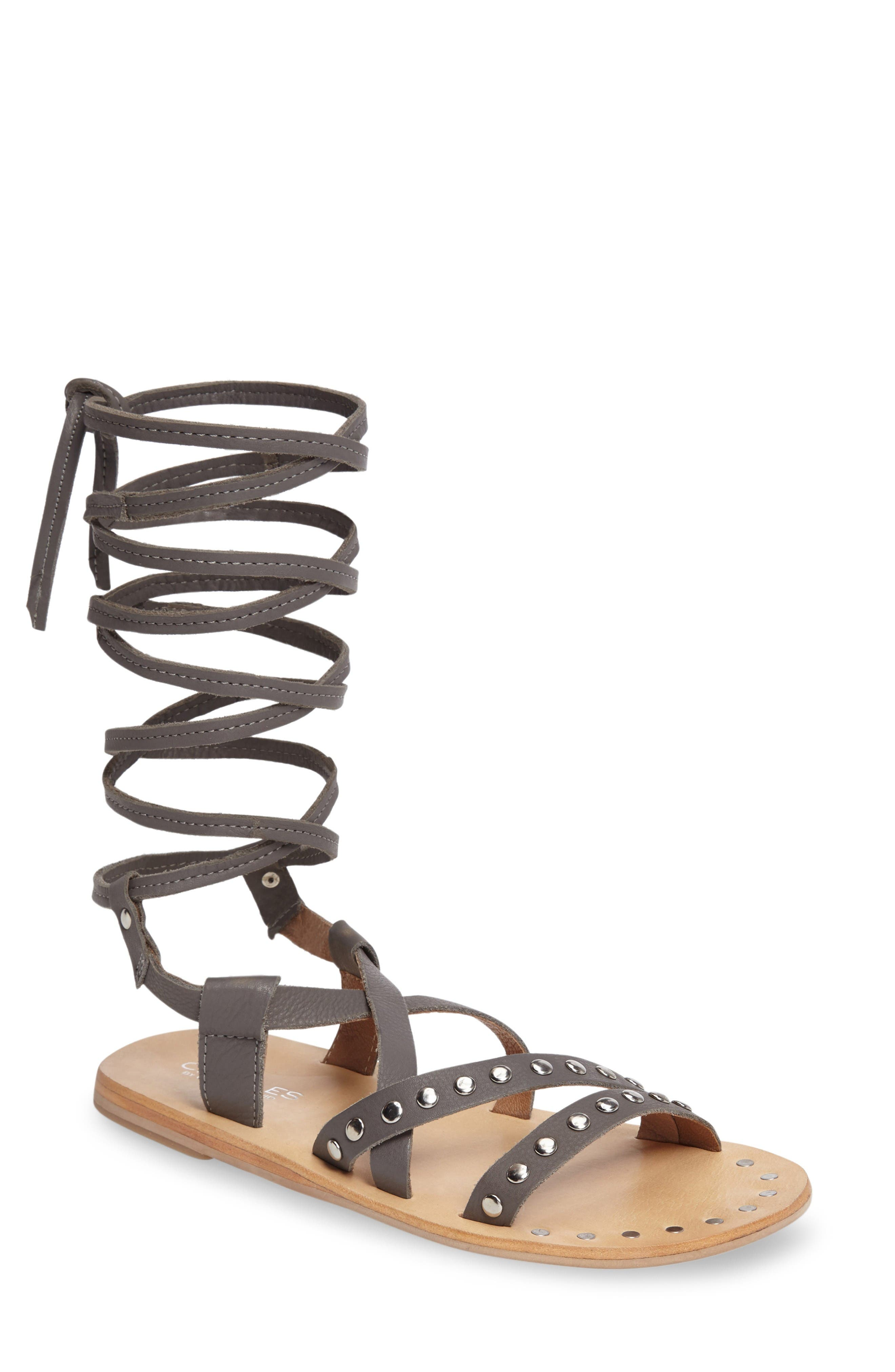 Steeler Ankle Wrap Sandal,                             Main thumbnail 1, color,                             Light Grey Leather