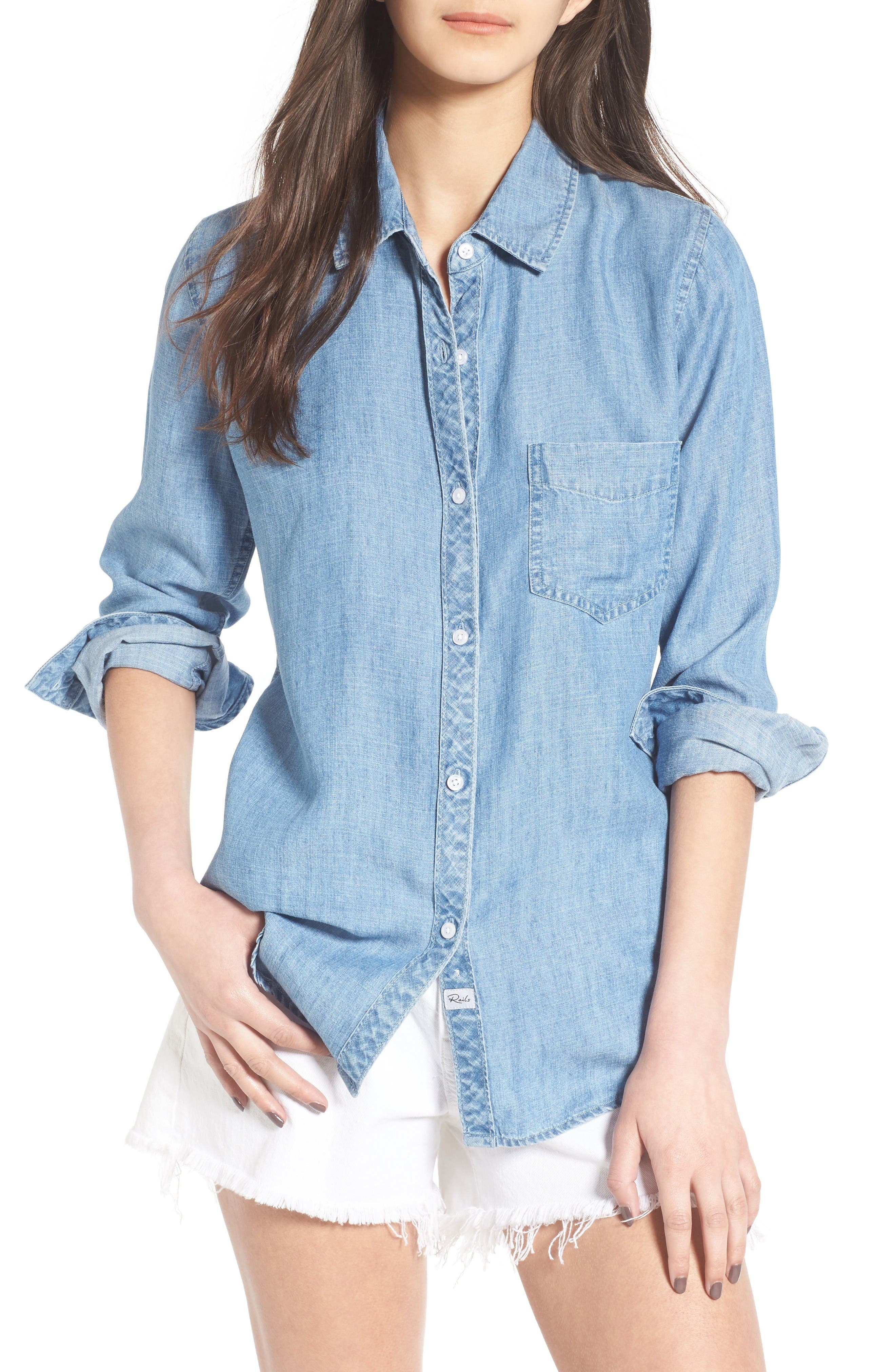 Ingrid Chambray Shirt,                             Main thumbnail 1, color,                             Indigo