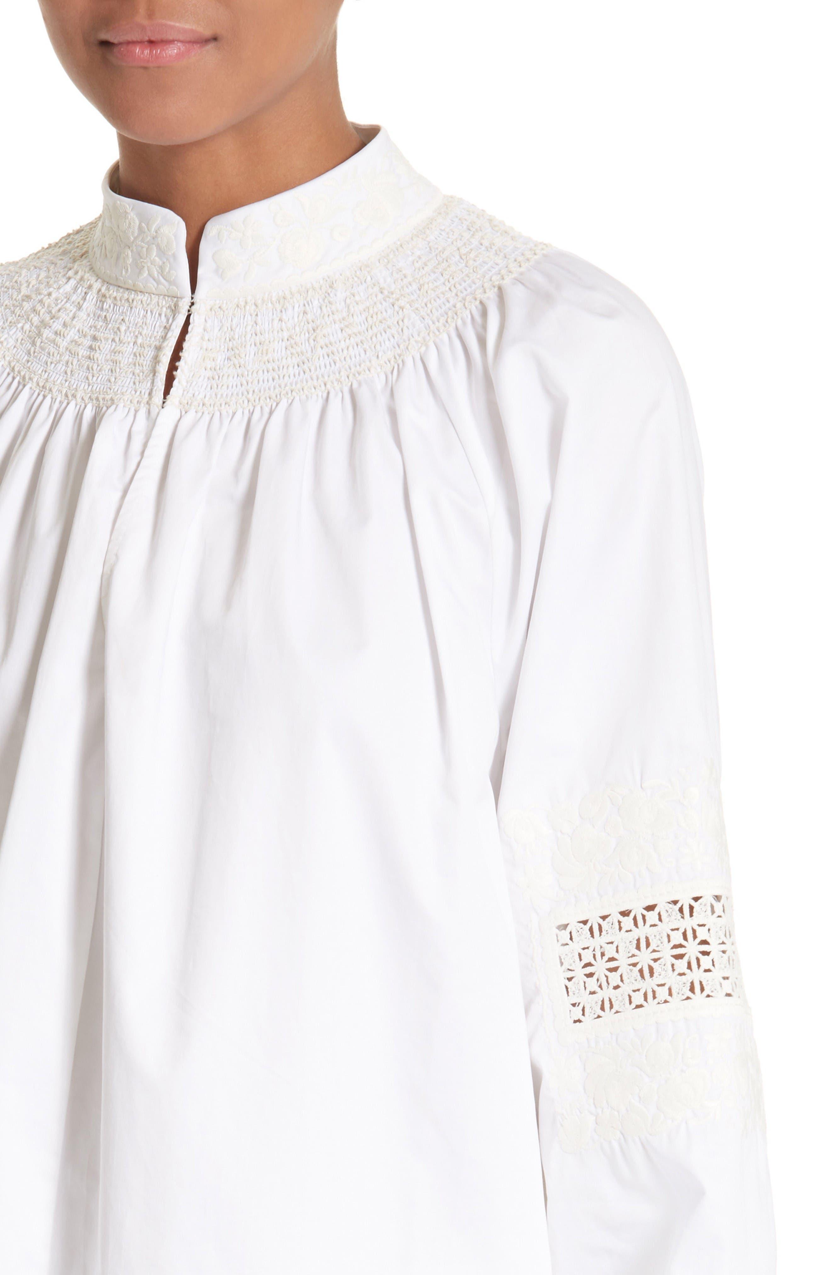 Smocked Tunic Dress,                             Alternate thumbnail 4, color,                             White/ Ivory Multi