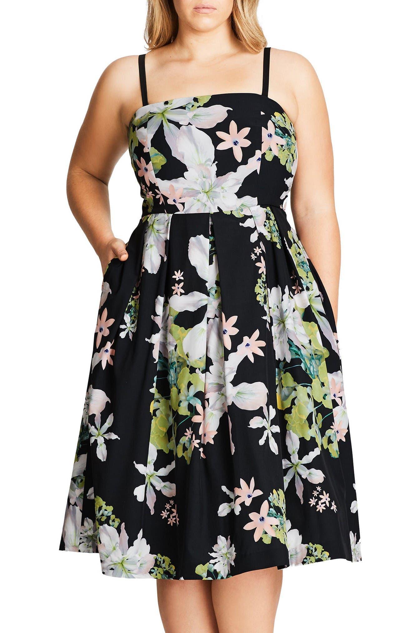 Main Image - City Chic Emerald Spring Convertible Sundress (Plus Size)