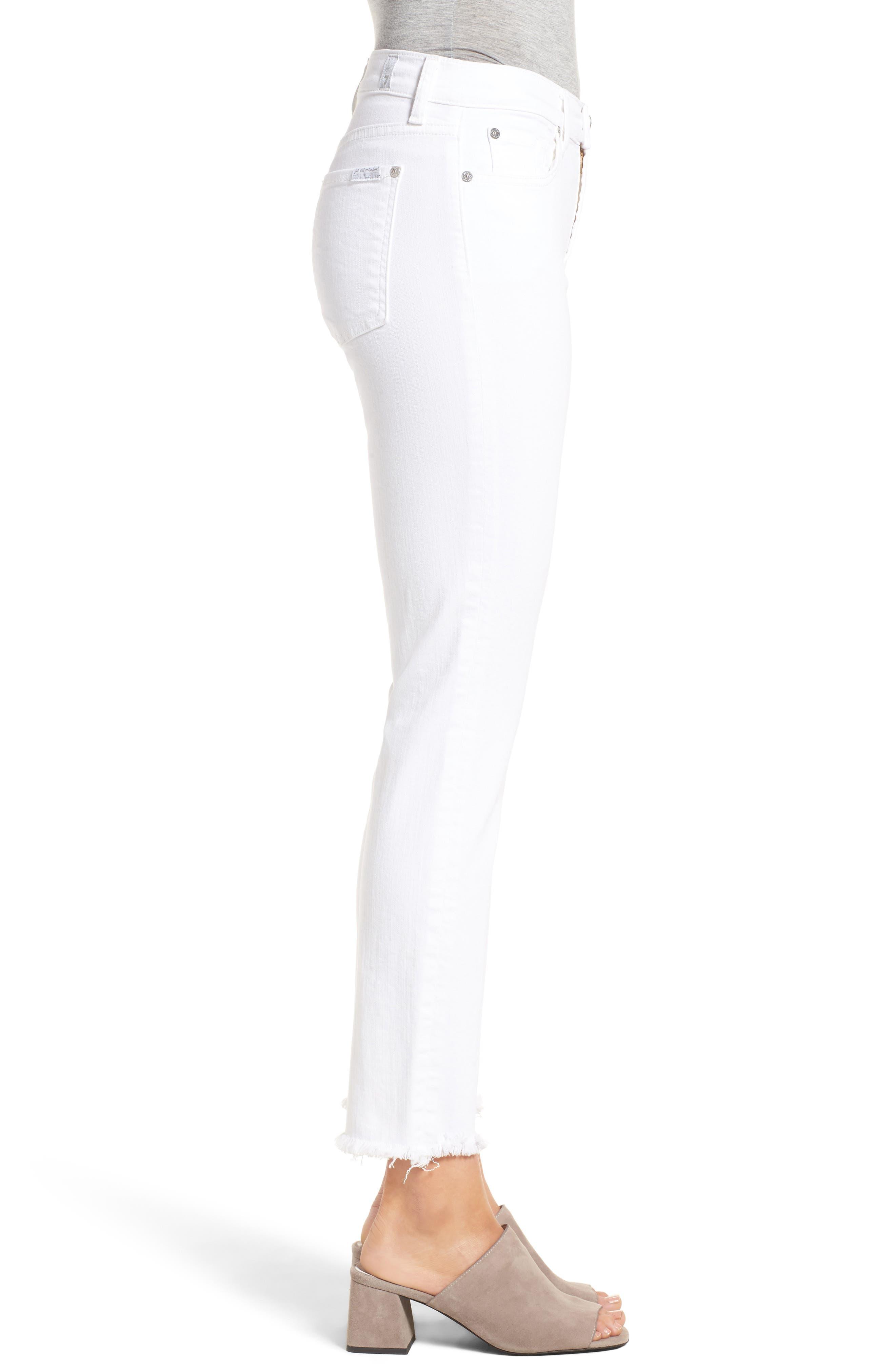 Roxanne Ankle Straight Leg Jeans,                             Alternate thumbnail 4, color,                             White Fashion
