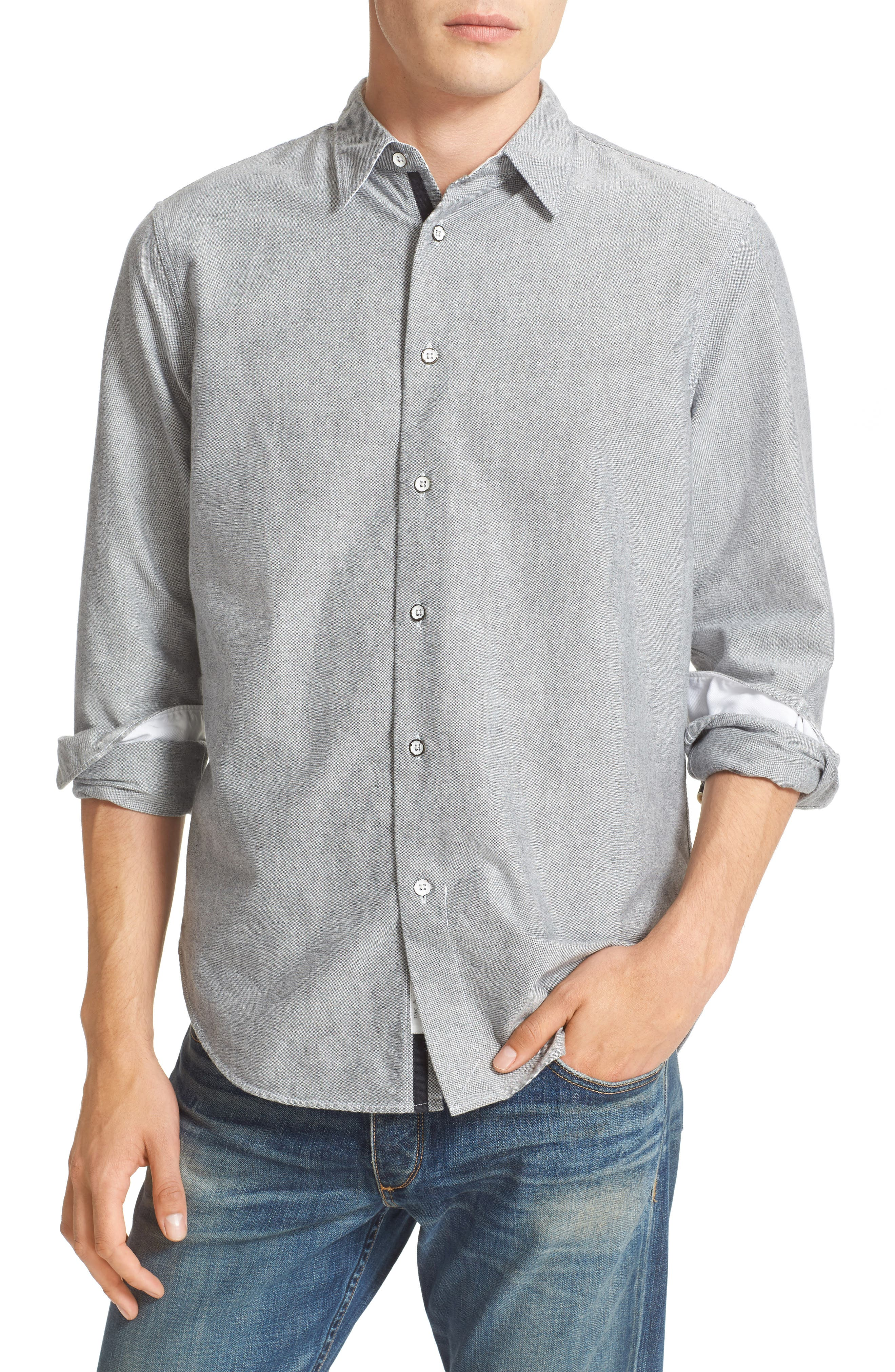 Beach Trim Fit Oxford Sport Shirt,                             Alternate thumbnail 4, color,                             Grey