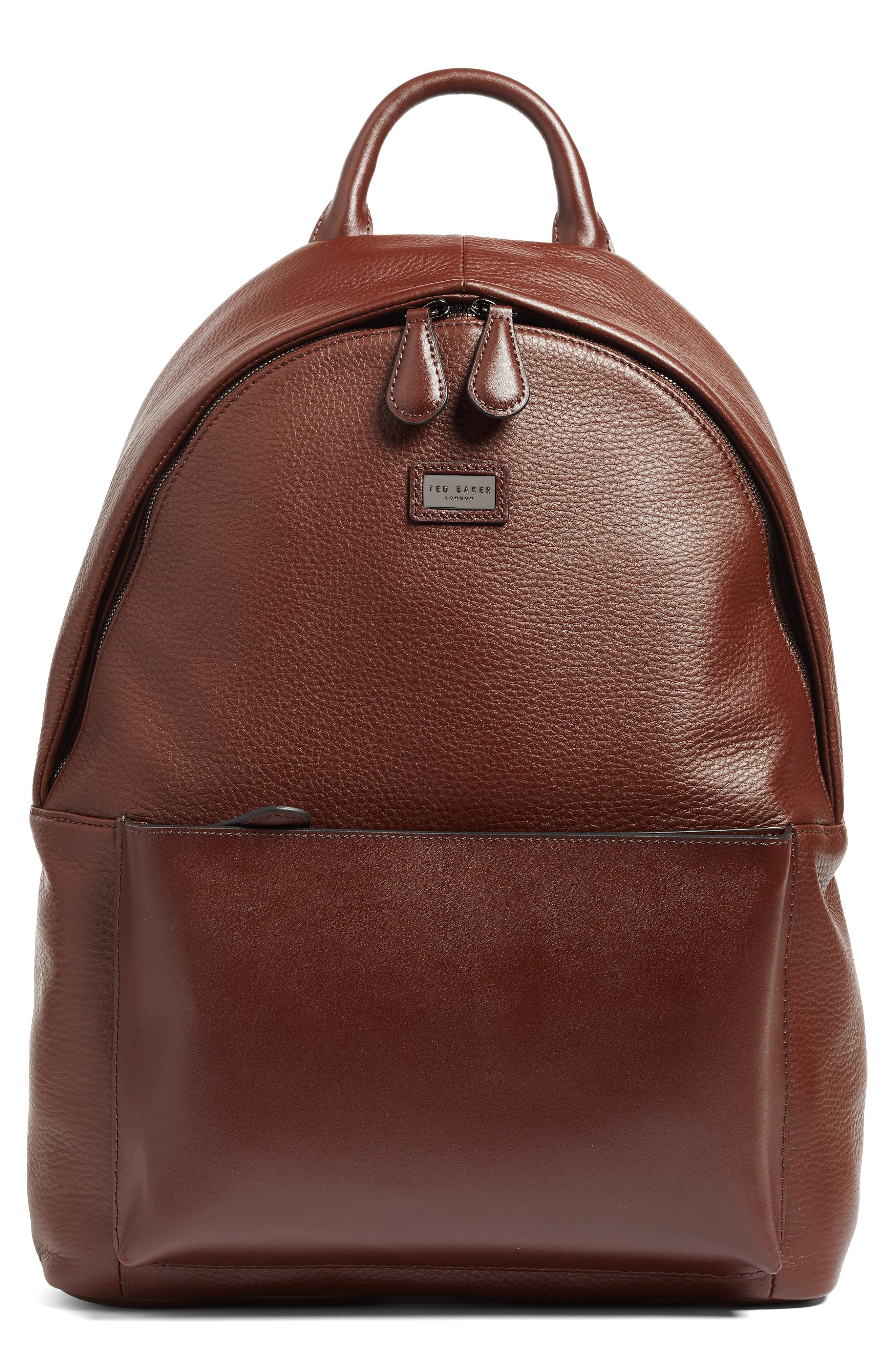 Leather Backpack,                         Main,                         color, Tan