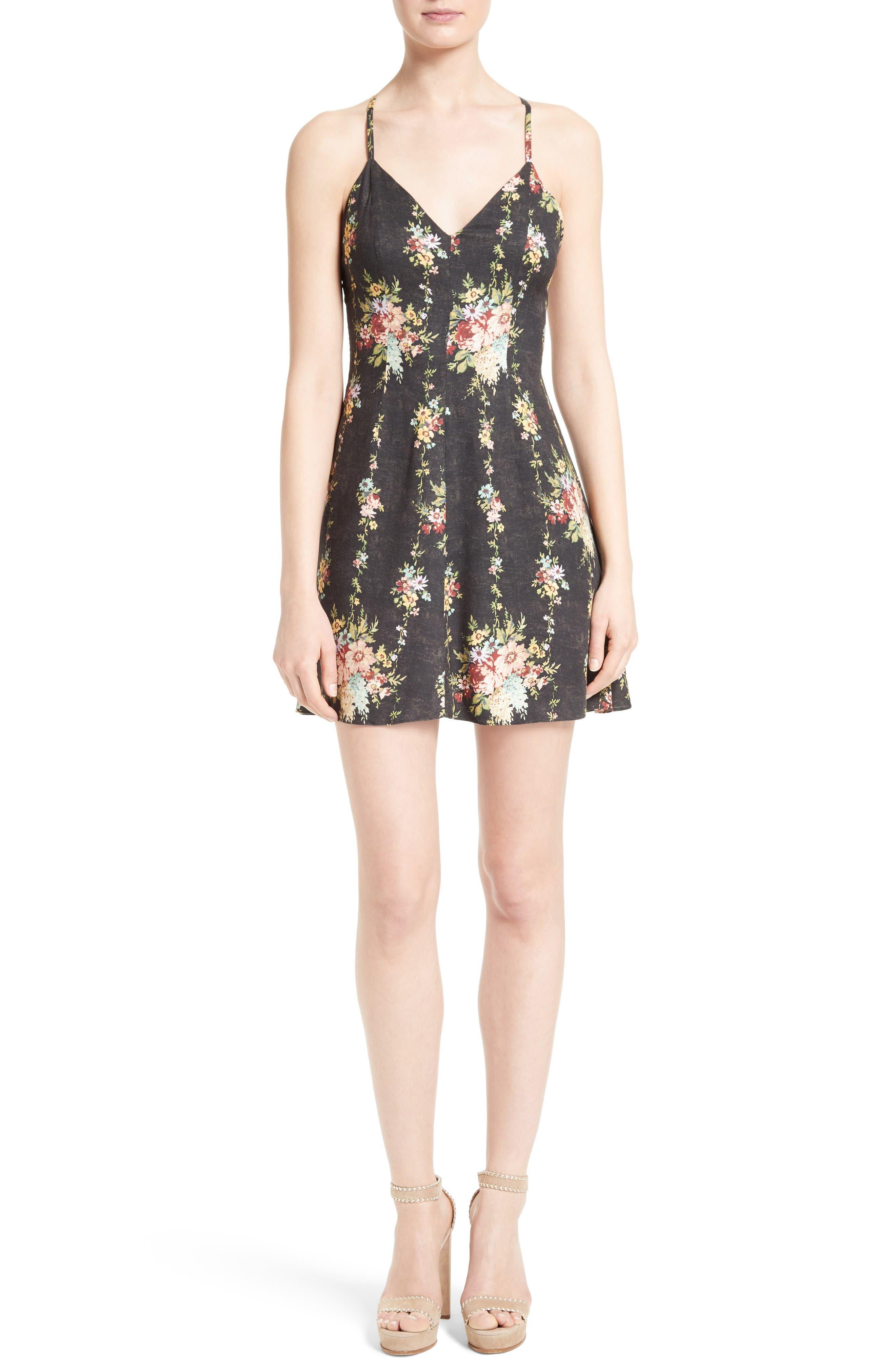 Main Image - Alice + Olivia Alves Floral Fit & Flare Dress