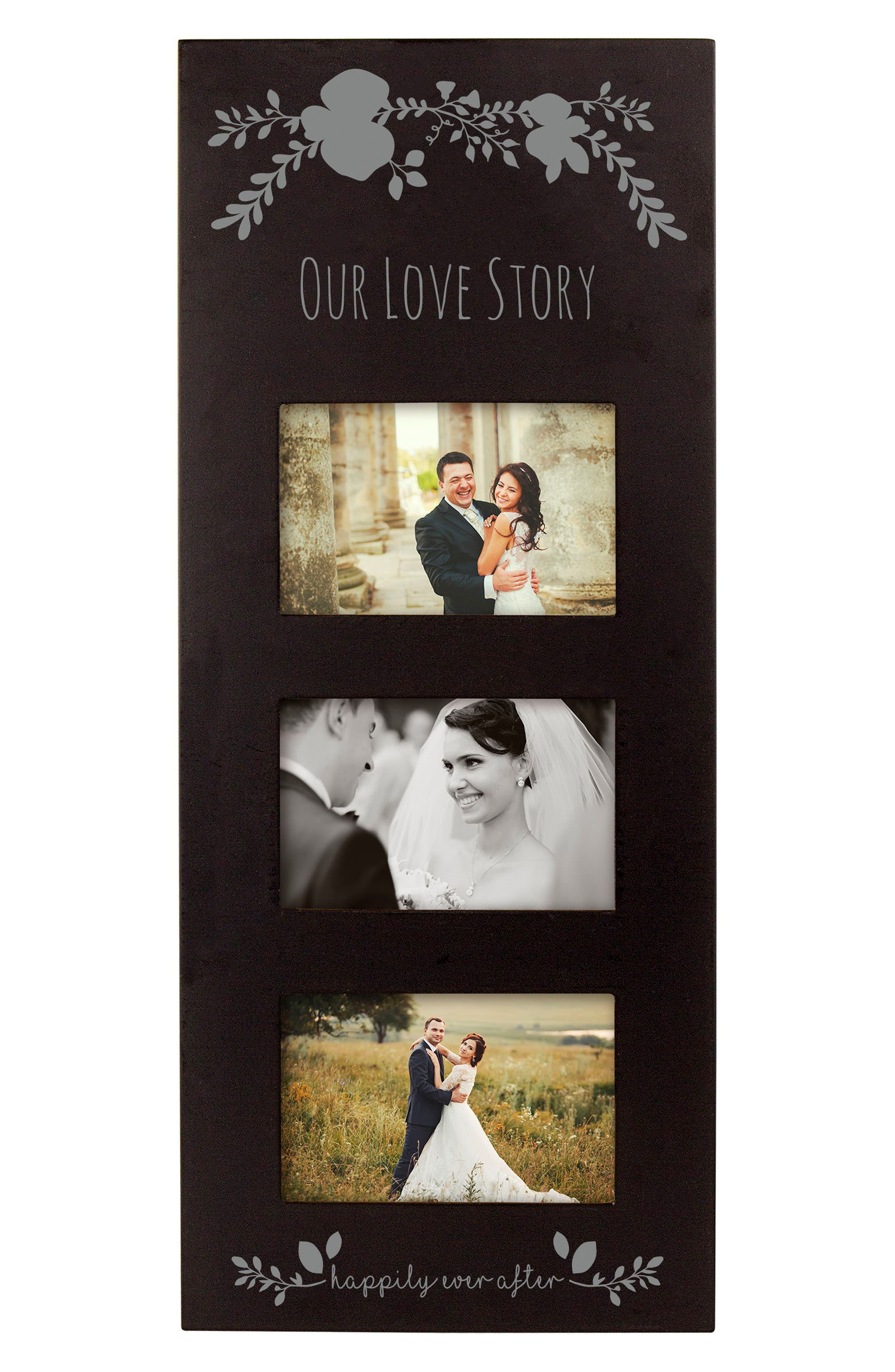 Silver Love Story 3-Window Picture Frame,                             Main thumbnail 1, color,                             Black