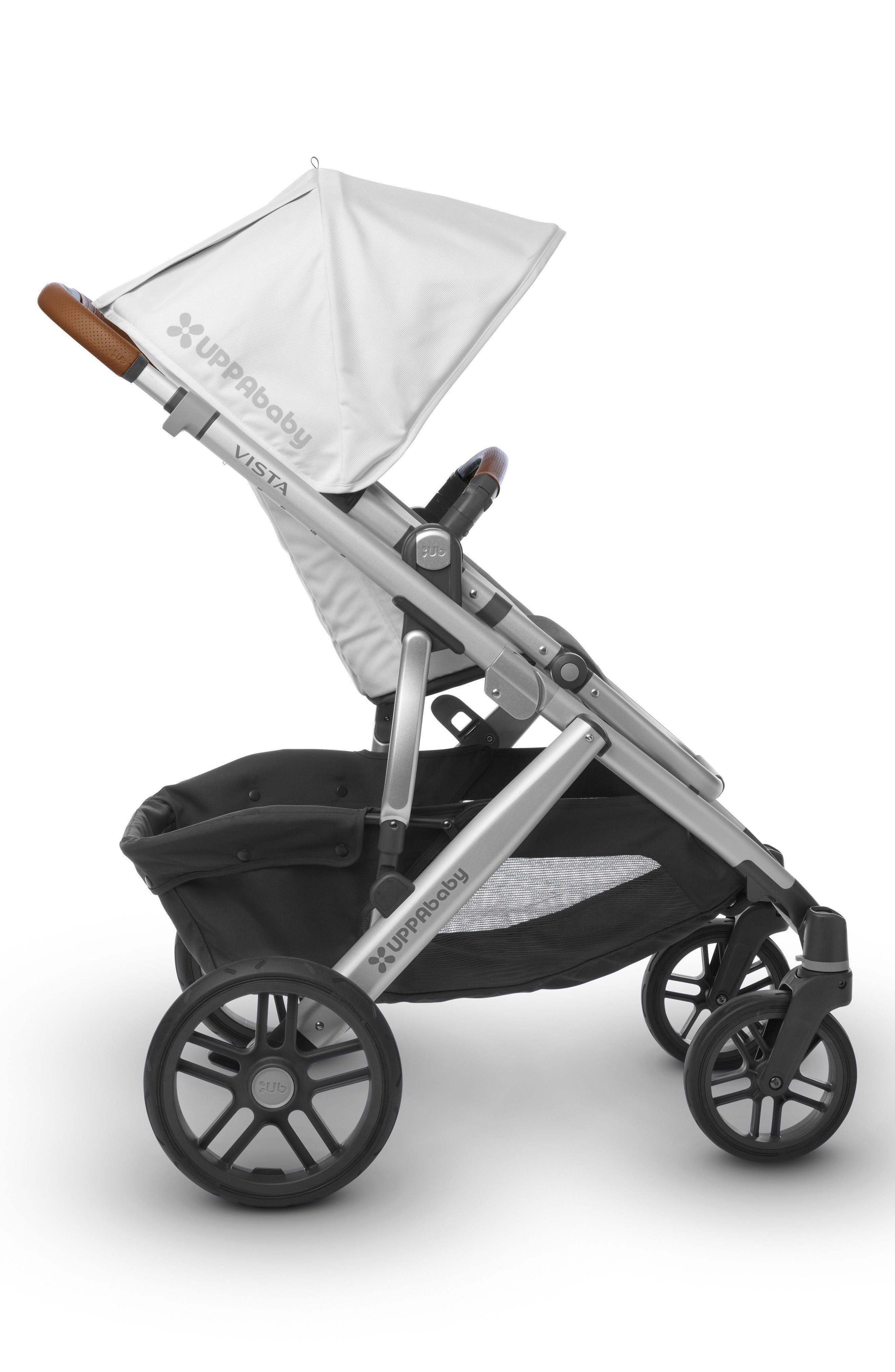 2017 VISTA Aluminum Frame Convertible Stroller with Bassinet & Toddler Seat,                             Alternate thumbnail 4, color,                             White/ Silver