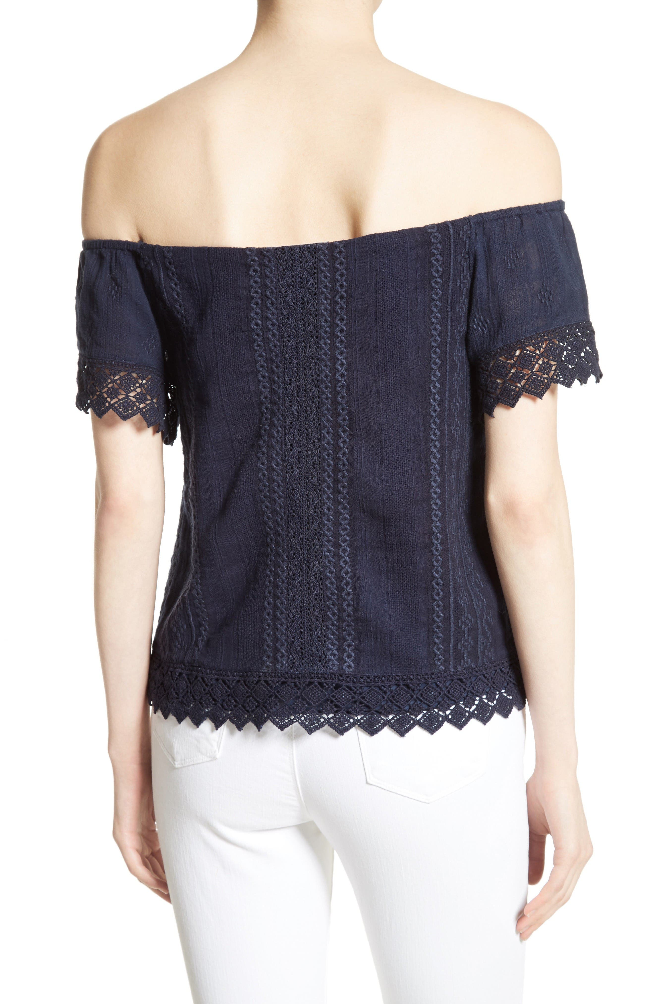 Alternate Image 2  - Alice + Olivia Jules Embroidered Cotton Off the Shoulder Top