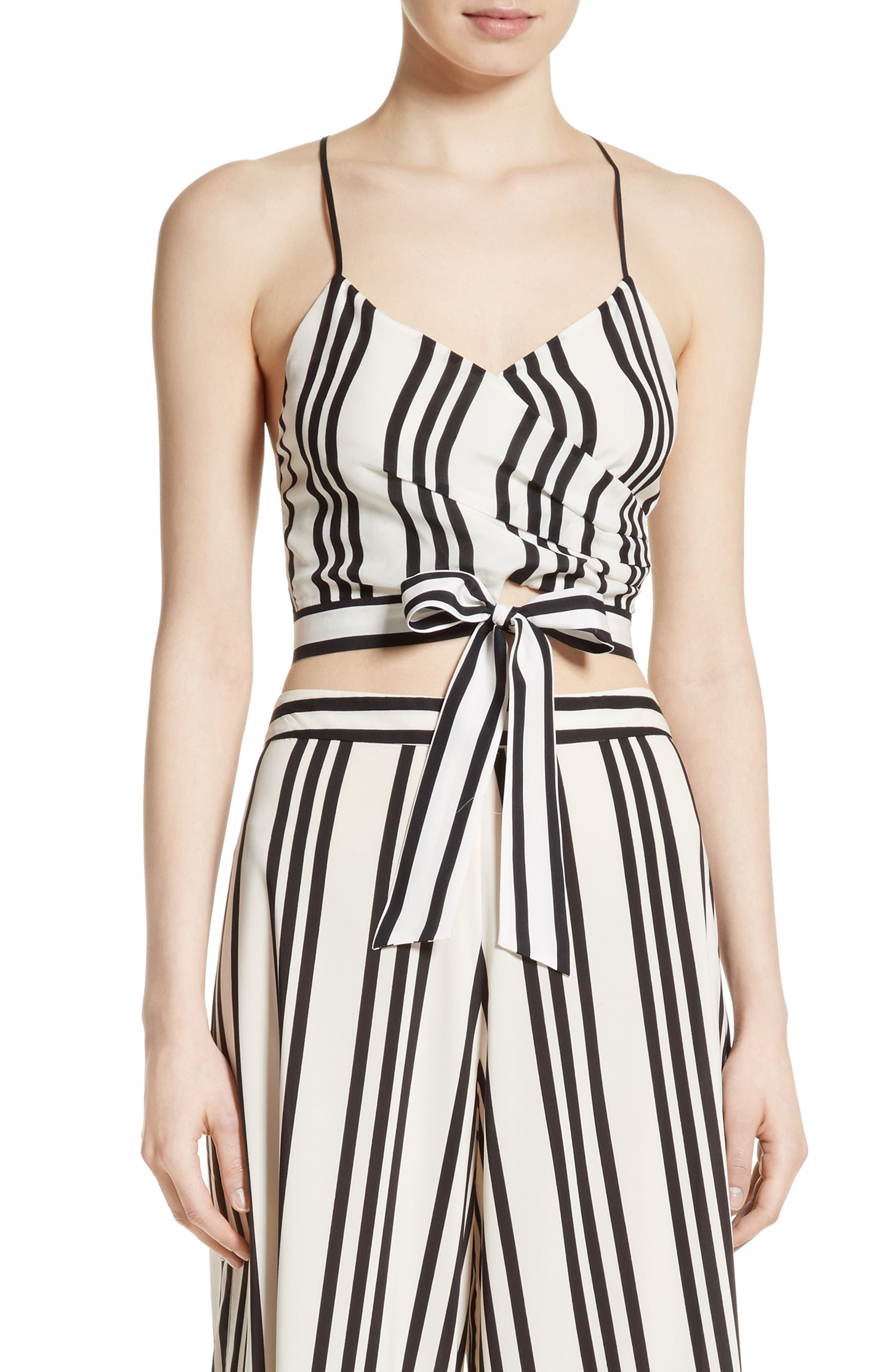 Main Image - Alice + Olivia Rayna Tie Front Crossover Crop Tank
