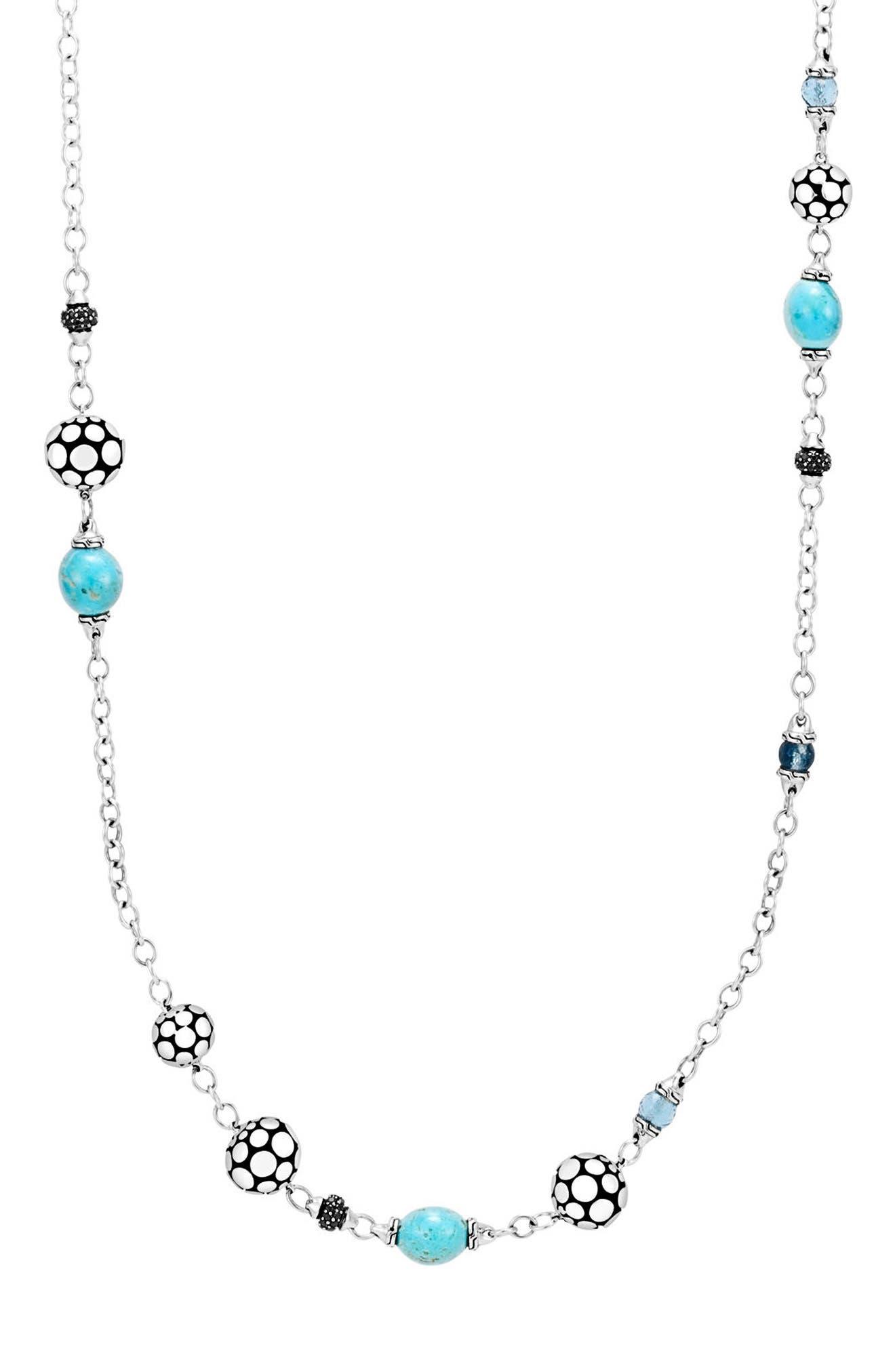 Dot Sautoir Station Necklace,                         Main,                         color, Silver/ Turquoise