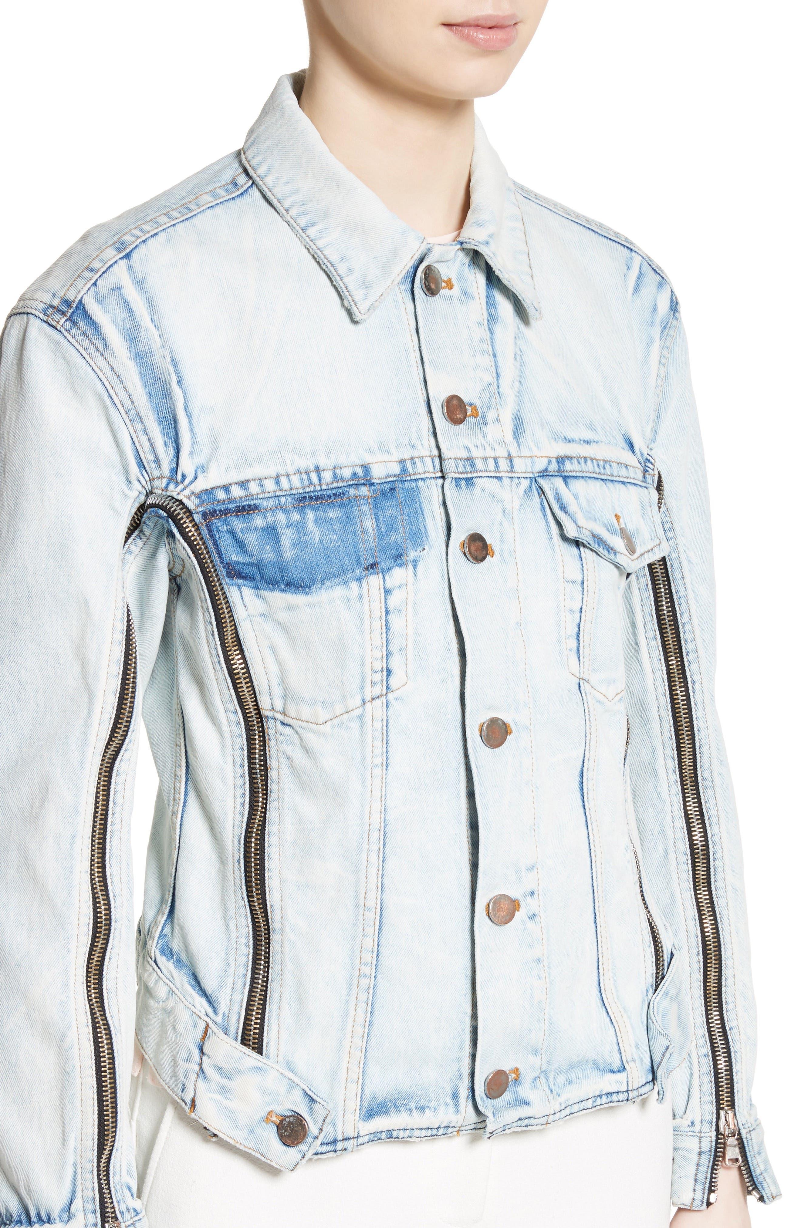 Zipper Detail Denim Jacket,                             Alternate thumbnail 4, color,                             Indigo