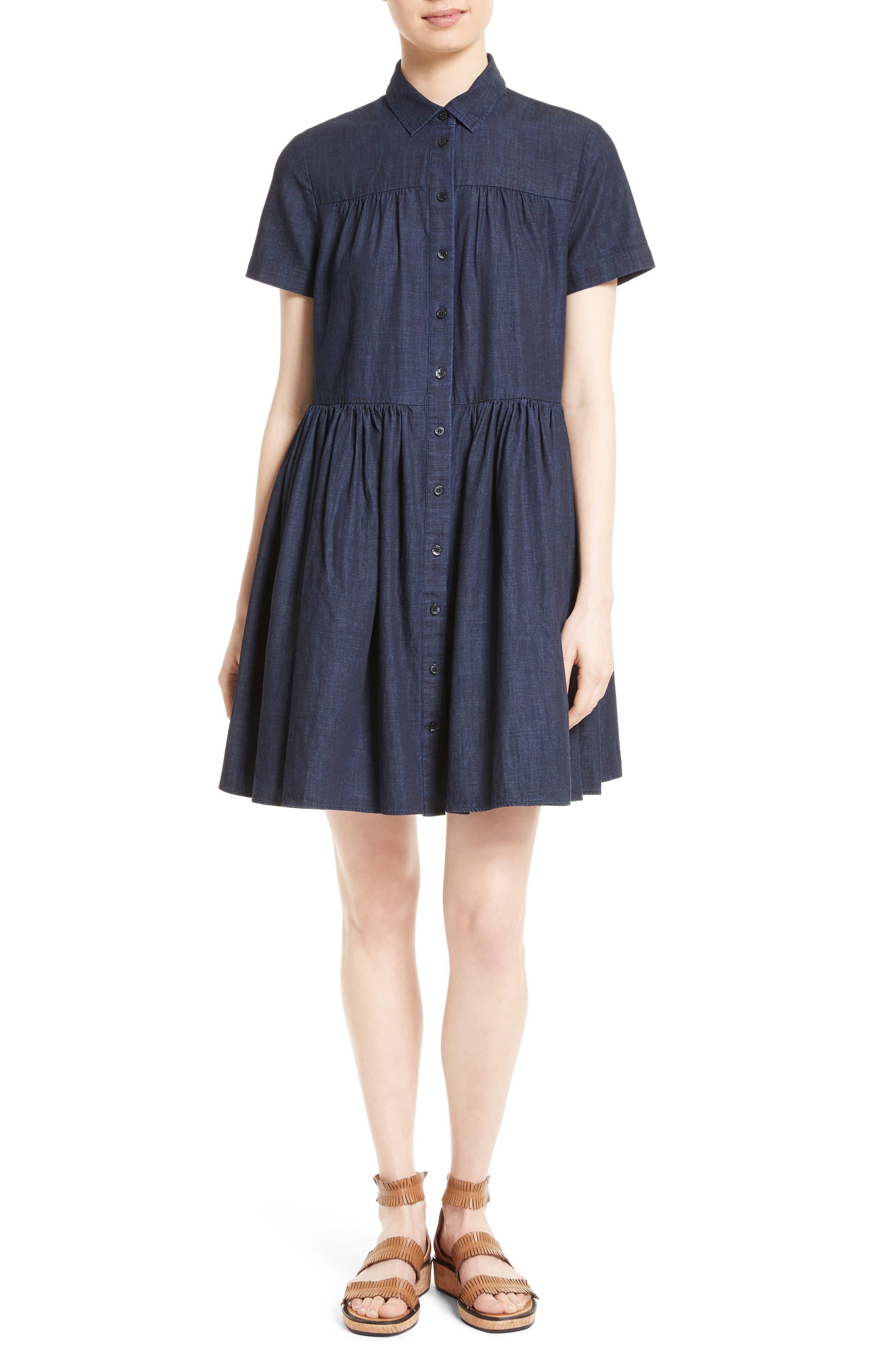 Alternate Image 1 Selected - kate spade new york chambray swing shirtdress