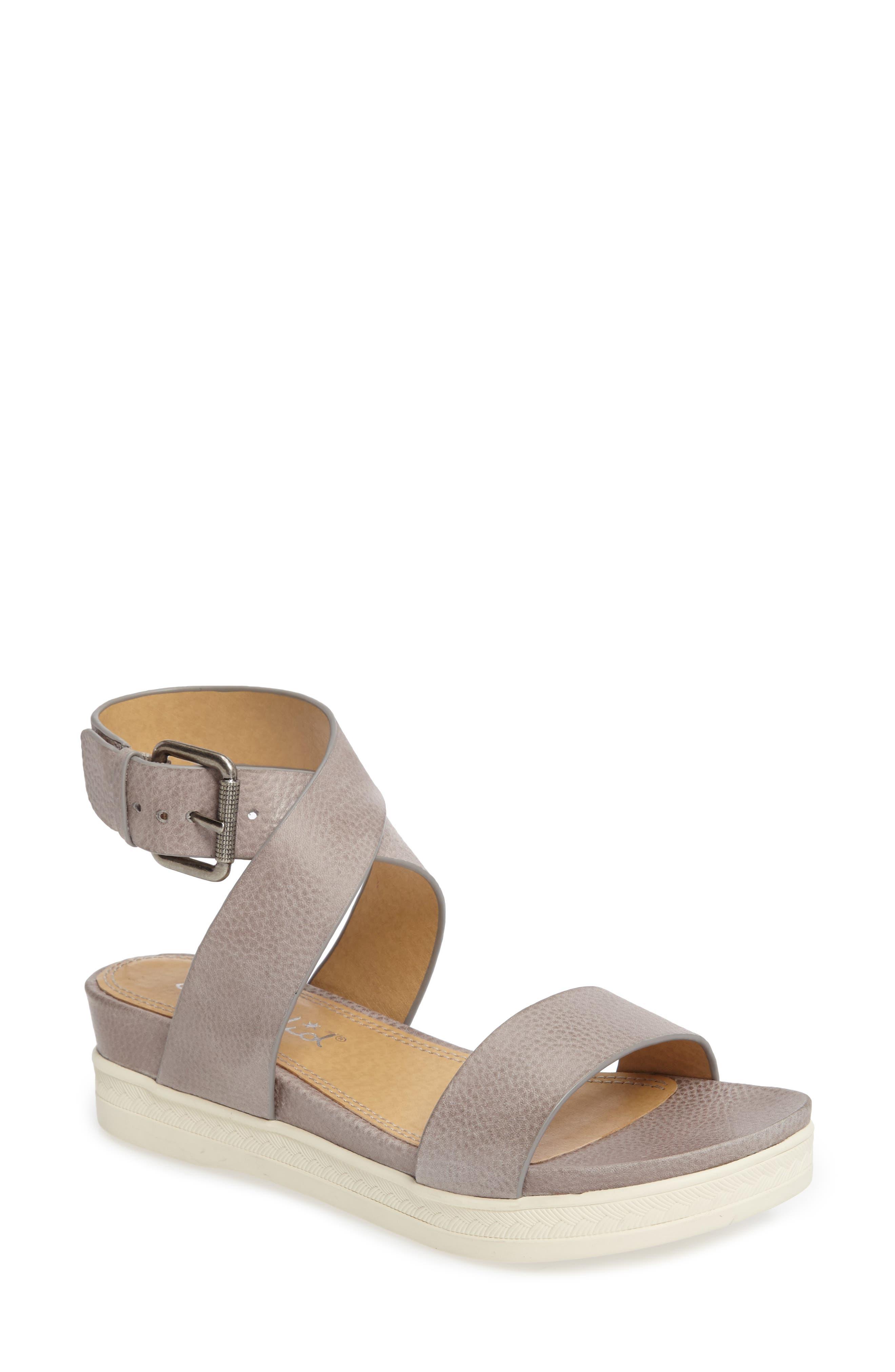 Julie Platform Sandal,                         Main,                         color, Light Grey Leather