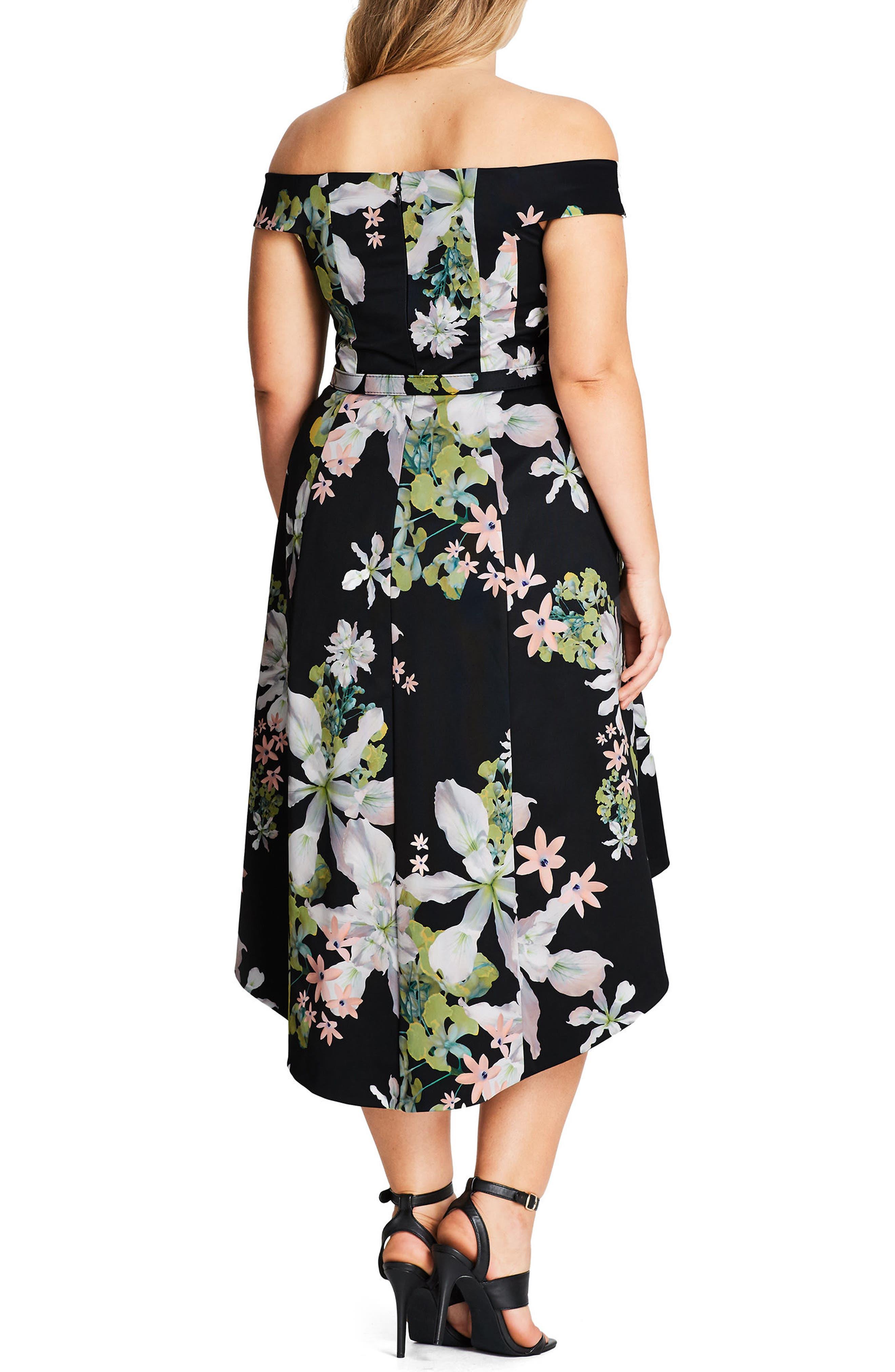Alternate Image 2  - City Chic Spring Belted Off the Shoulder Dress (Plus Size)