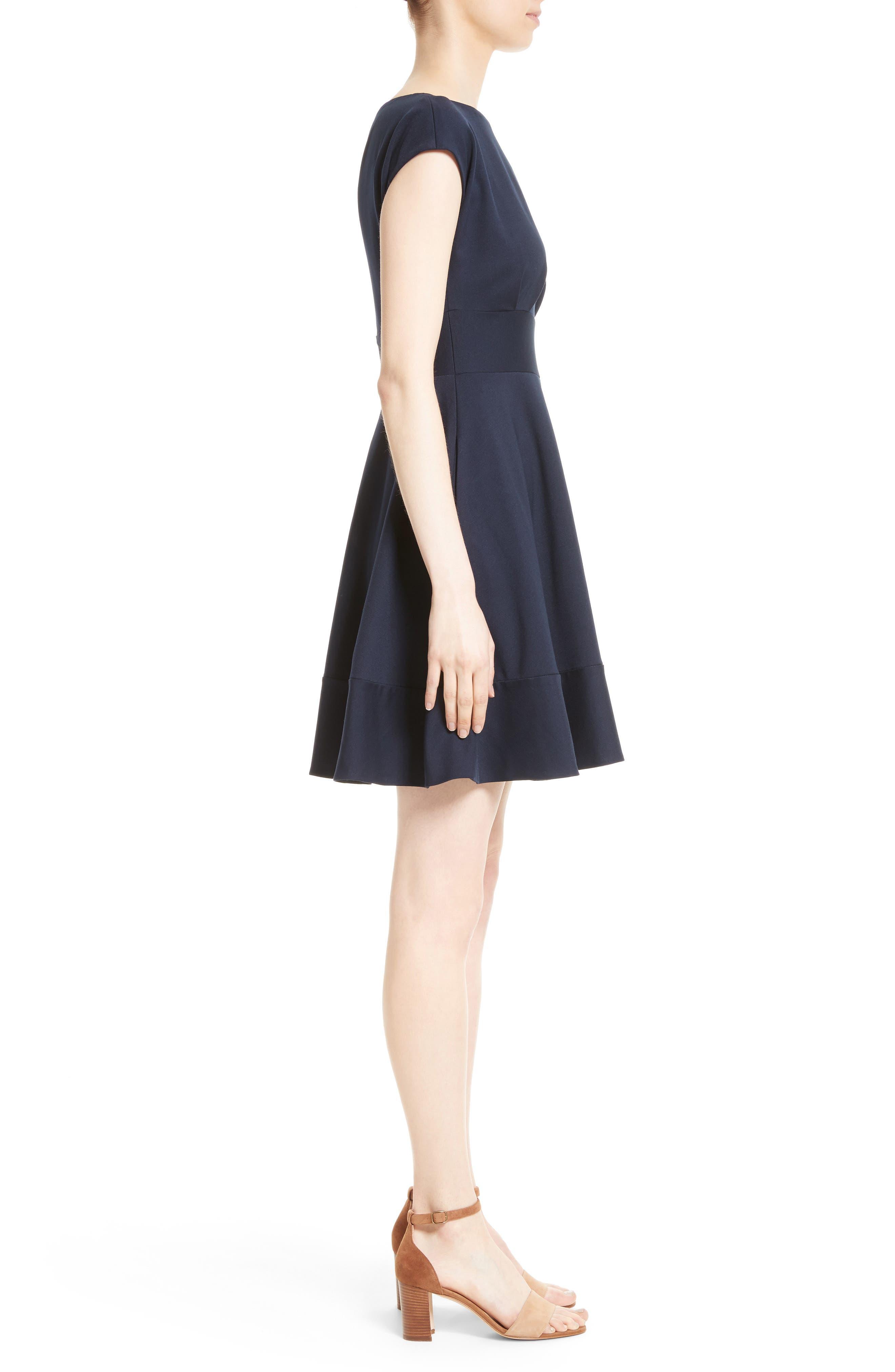 ponte fiorella fit & flare dress,                             Alternate thumbnail 3, color,                             Rich Navy