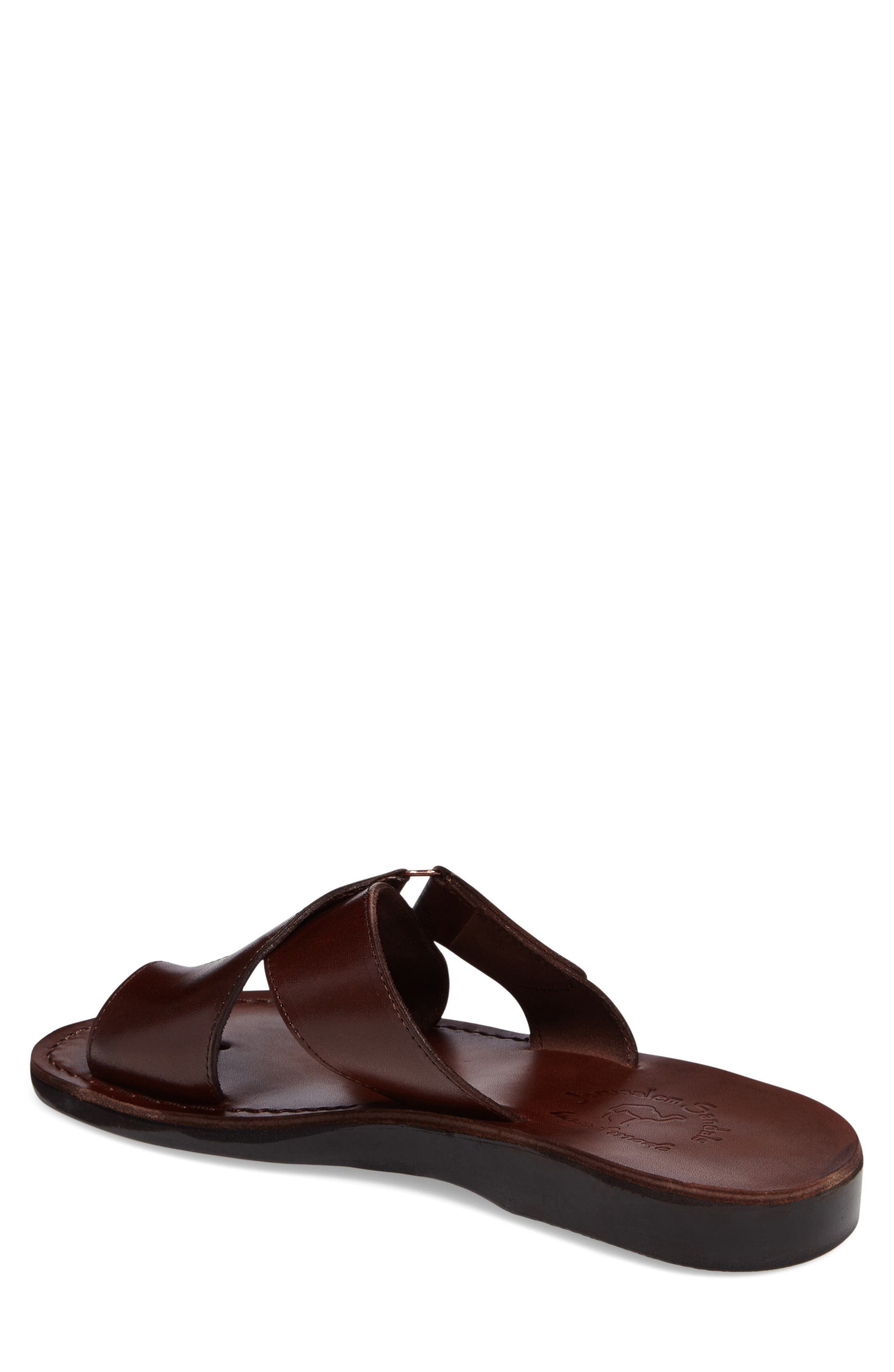 Asher Slide Sandal,                             Alternate thumbnail 2, color,                             Brown Leather