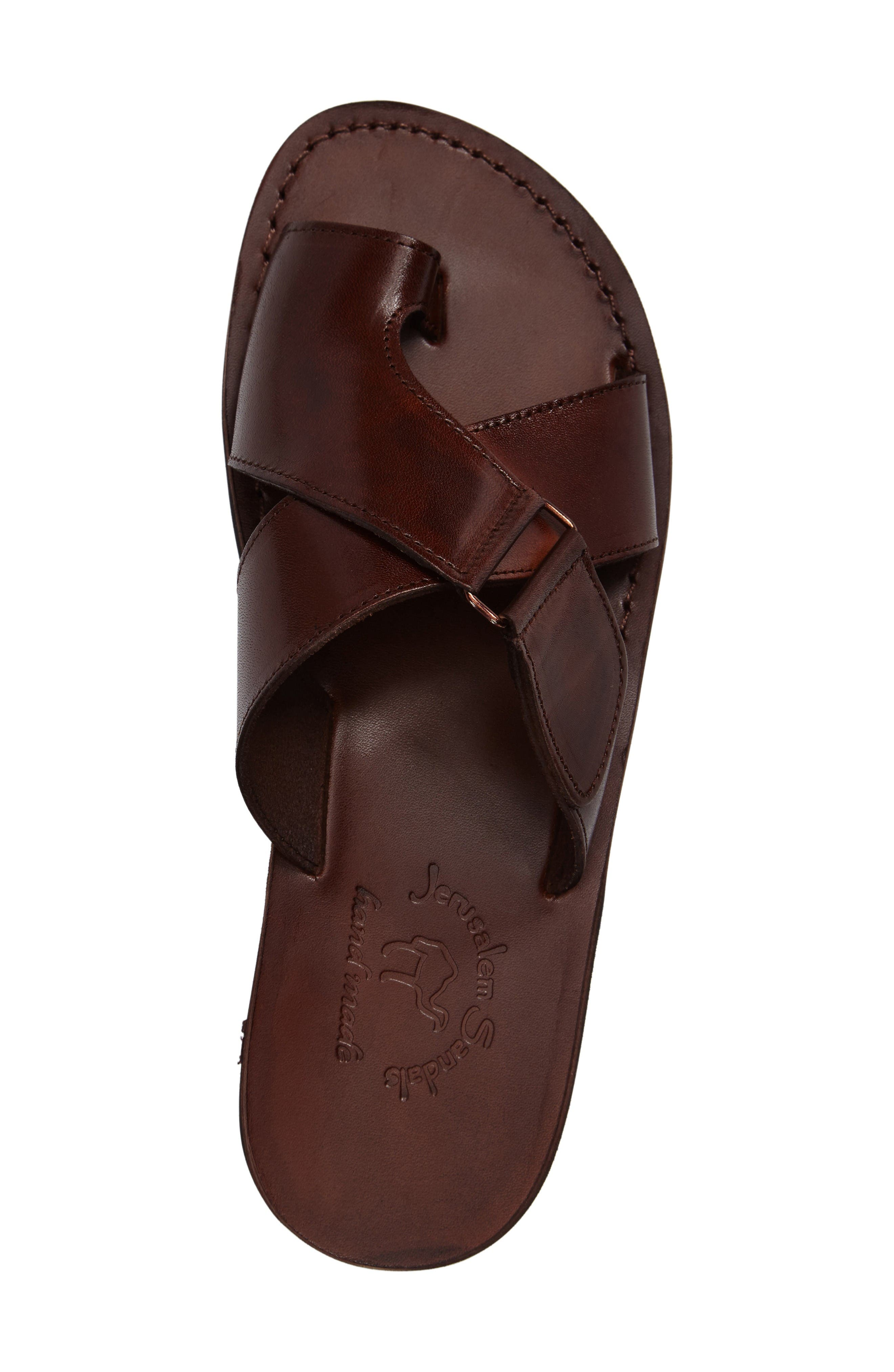 Asher Slide Sandal,                             Alternate thumbnail 3, color,                             Brown Leather