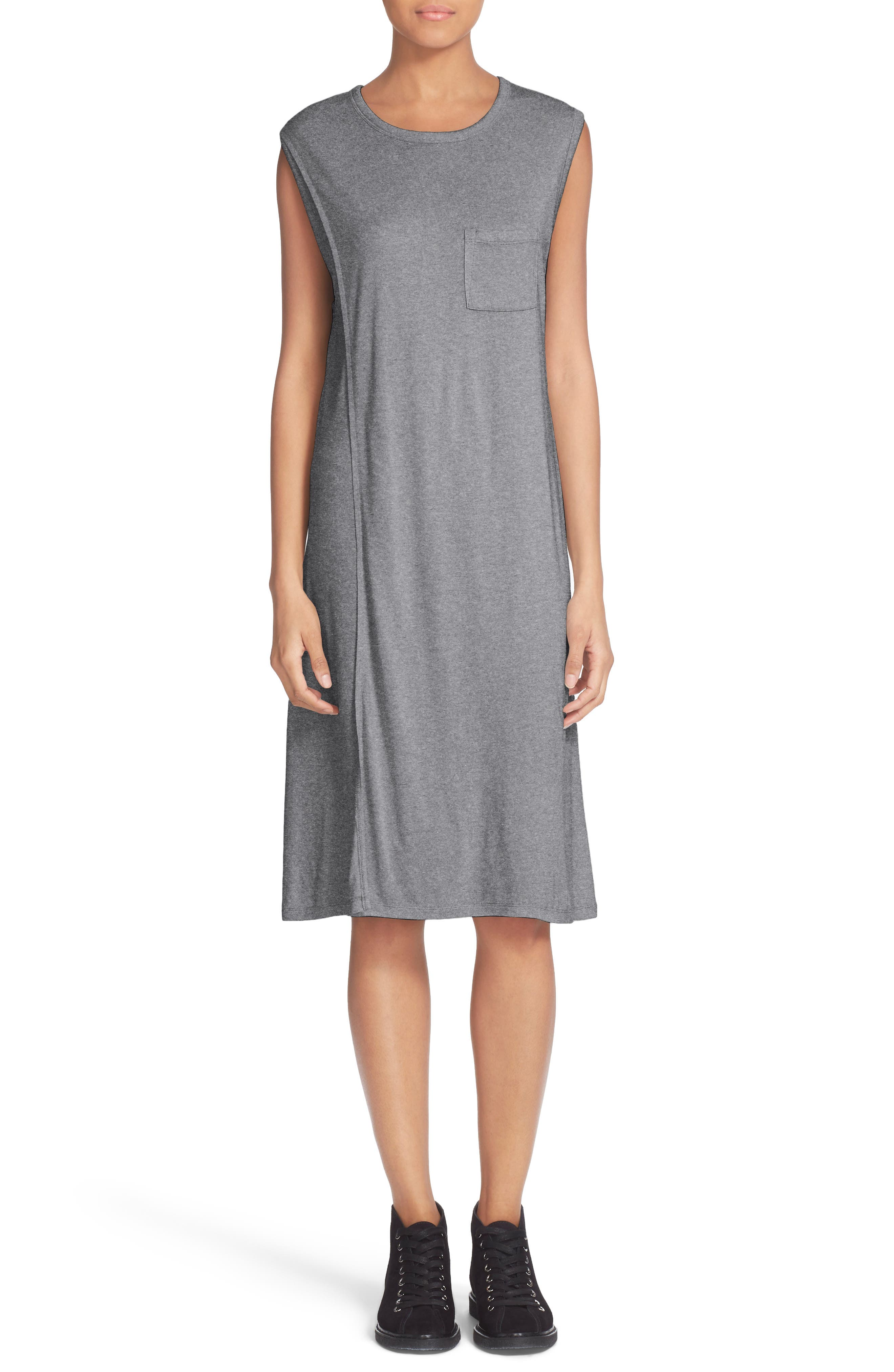 T By Alexander Wang Overlap T Shirt Dress Heather Grey Modesens