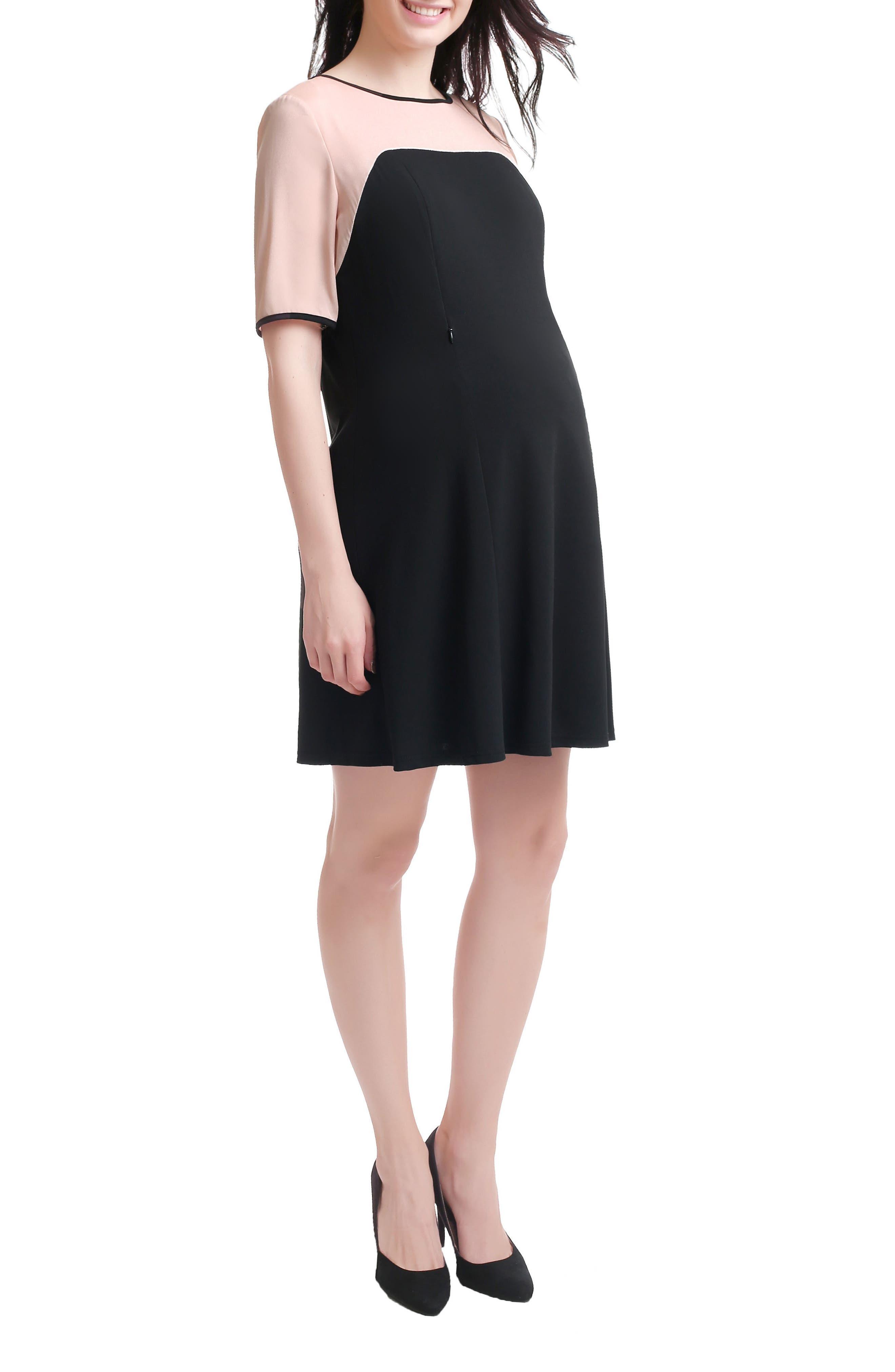 Kimi & Kai Maggie Maternity/Nursing Shift Dress,                             Alternate thumbnail 3, color,                             Black/ Blush