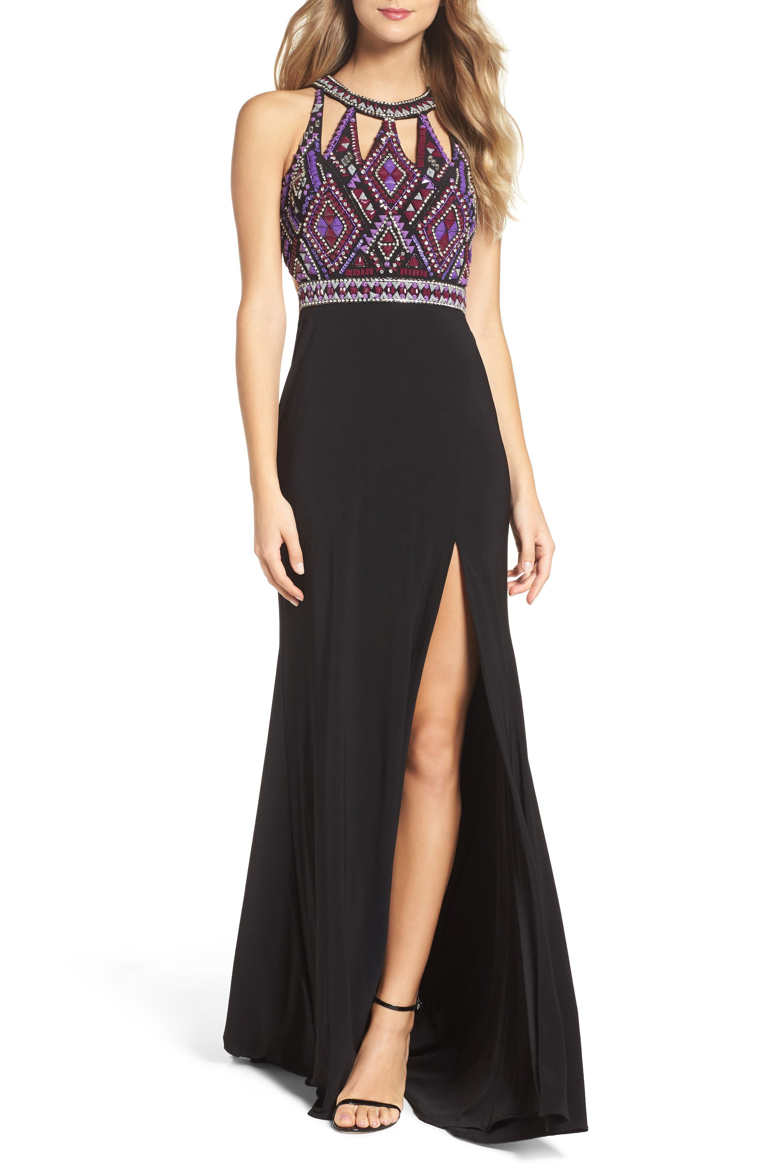 Embellished Jersey Gown,                         Main,                         color, Black/ Multi