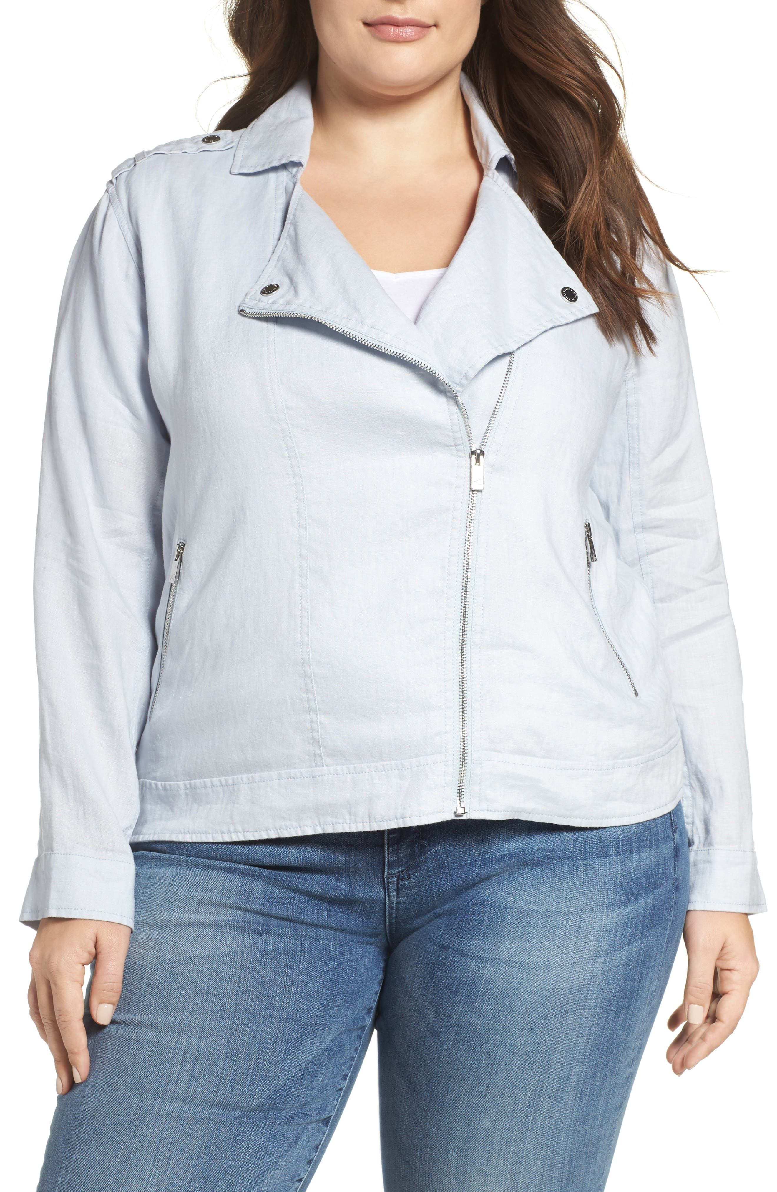 Main Image - Two by Vince Camuto Drapey Linen Moto Jacket (Plus Size)