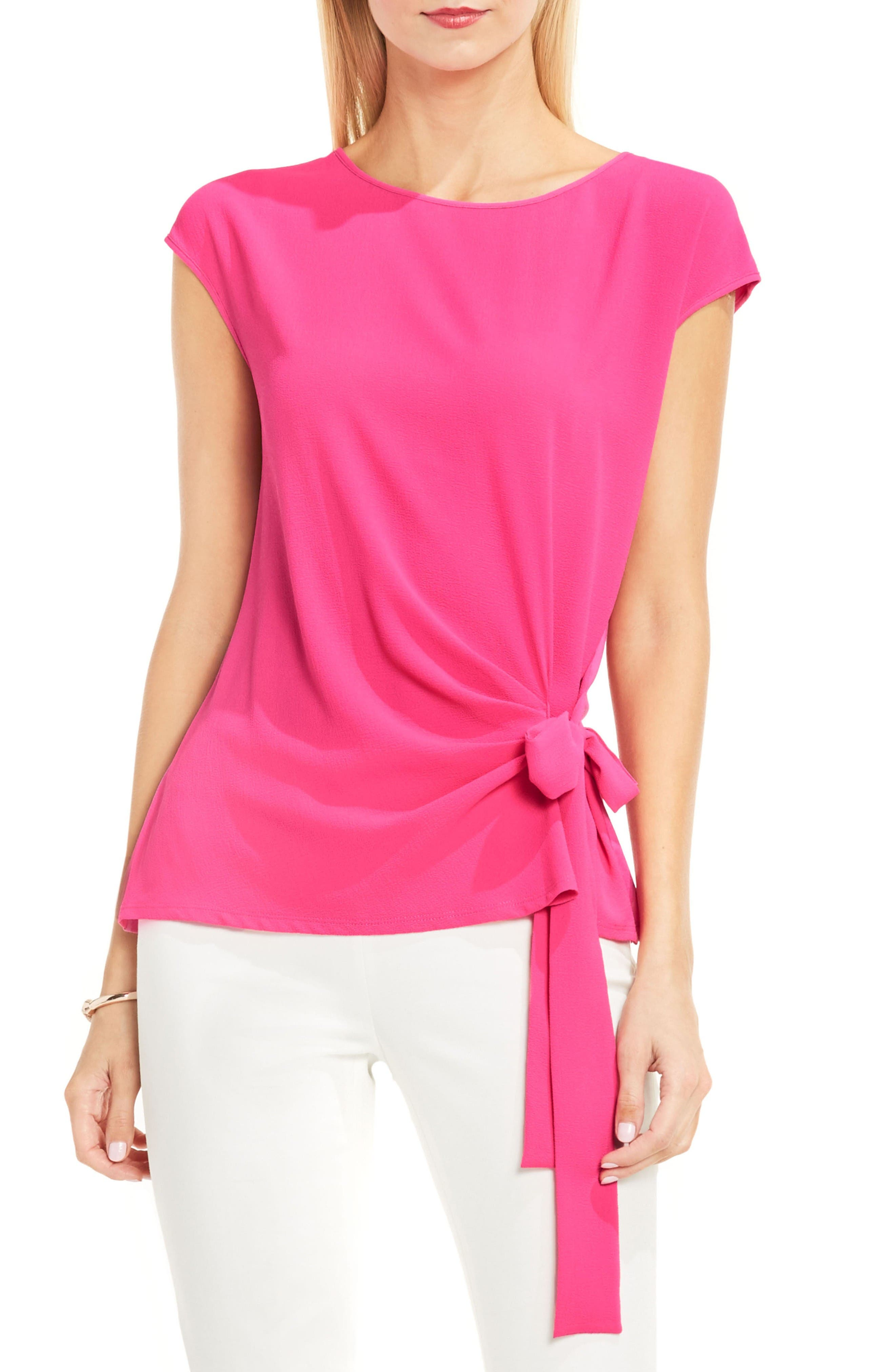 Mixed Media Tie Front Blouse,                             Main thumbnail 1, color,                             Electric Pink