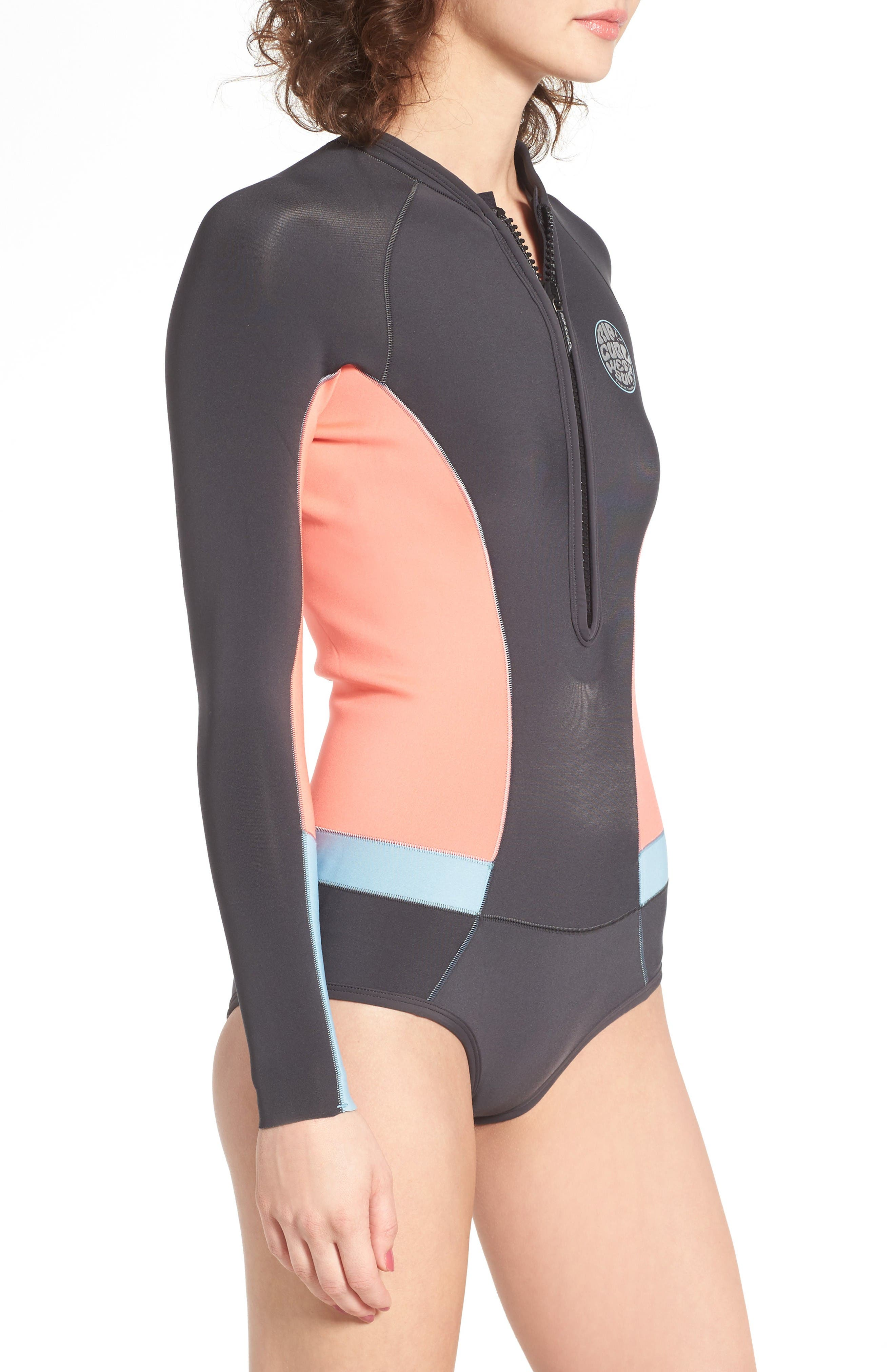 G-Bomb Long Sleeve Wetsuit,                             Alternate thumbnail 3, color,                             Coral