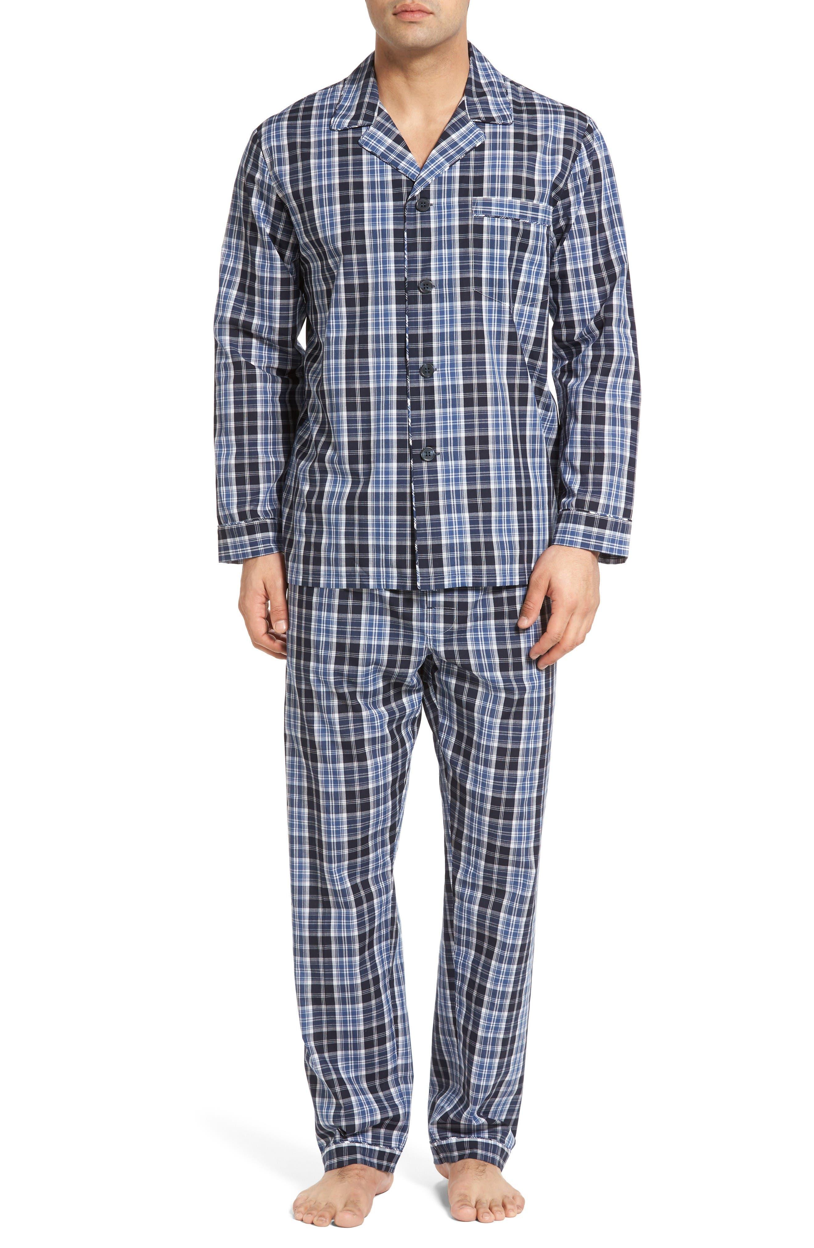 'Ryden' Cotton Blend Pajamas,                         Main,                         color, Black Check