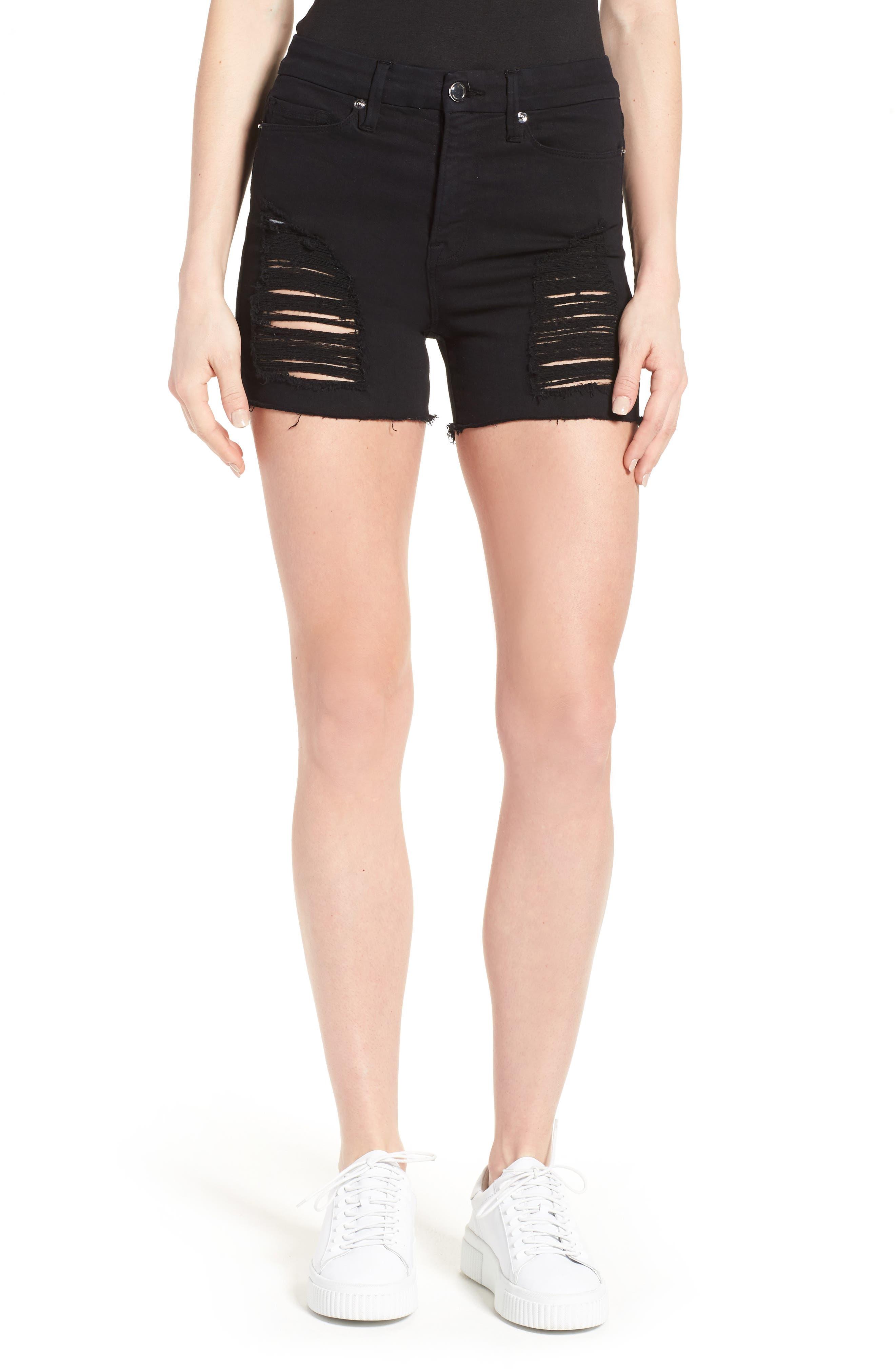 Good American Destroyed Cutoff Denim Shorts (Black 005)