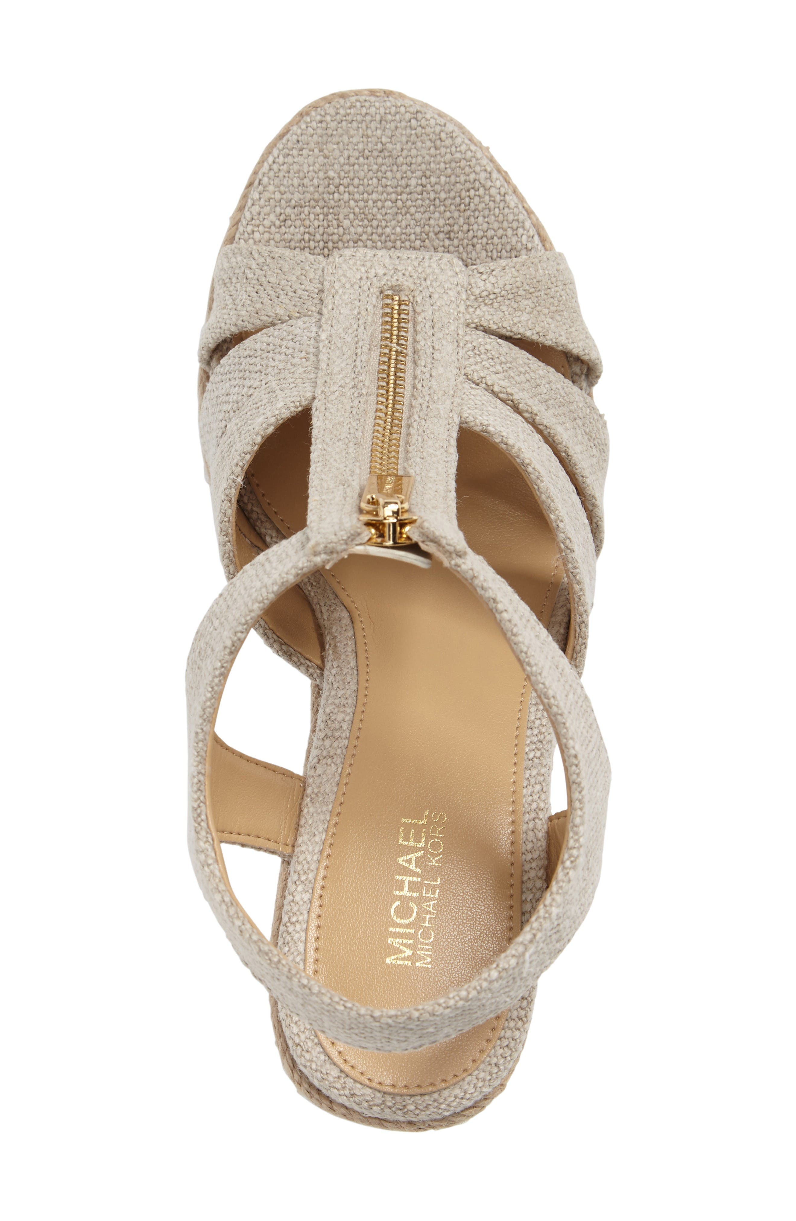 MICHAEL MICHAEL KORS BERKLEY PLATFORM WEDGE, NATURAL FABRIC