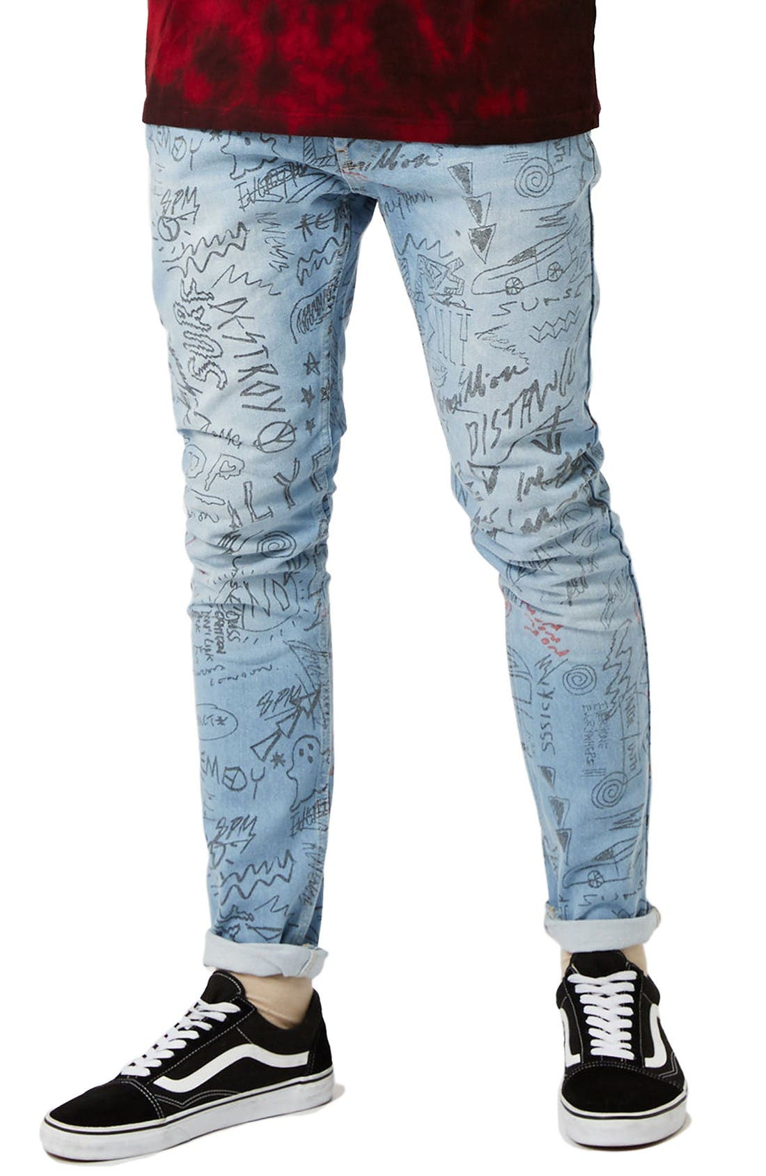 Alternate Image 1 Selected - Topman Doodle Print Stretch Skinny Fit Jeans