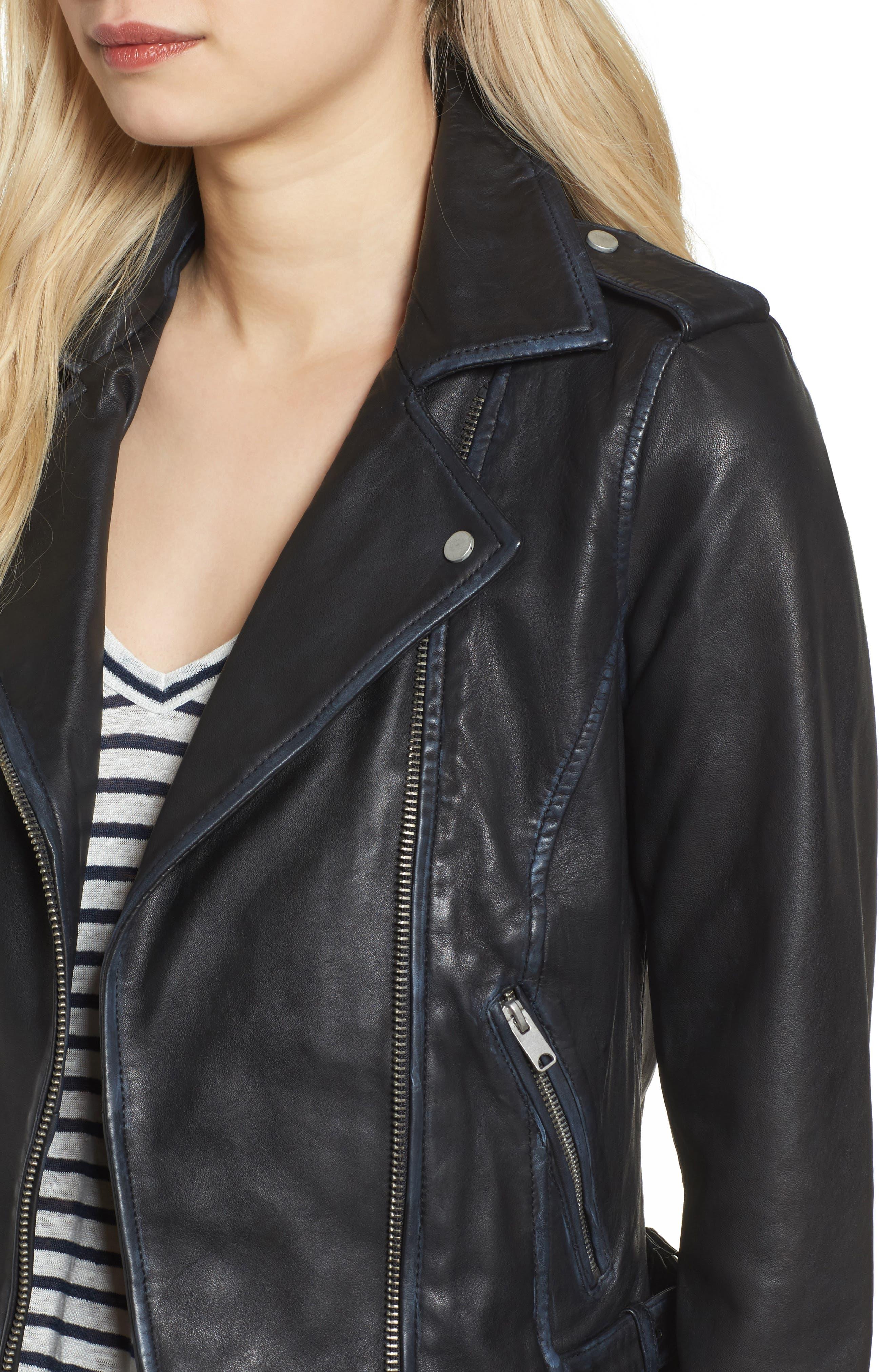 Whitney Washed Leather Crop Jacket,                             Alternate thumbnail 4, color,                             Black