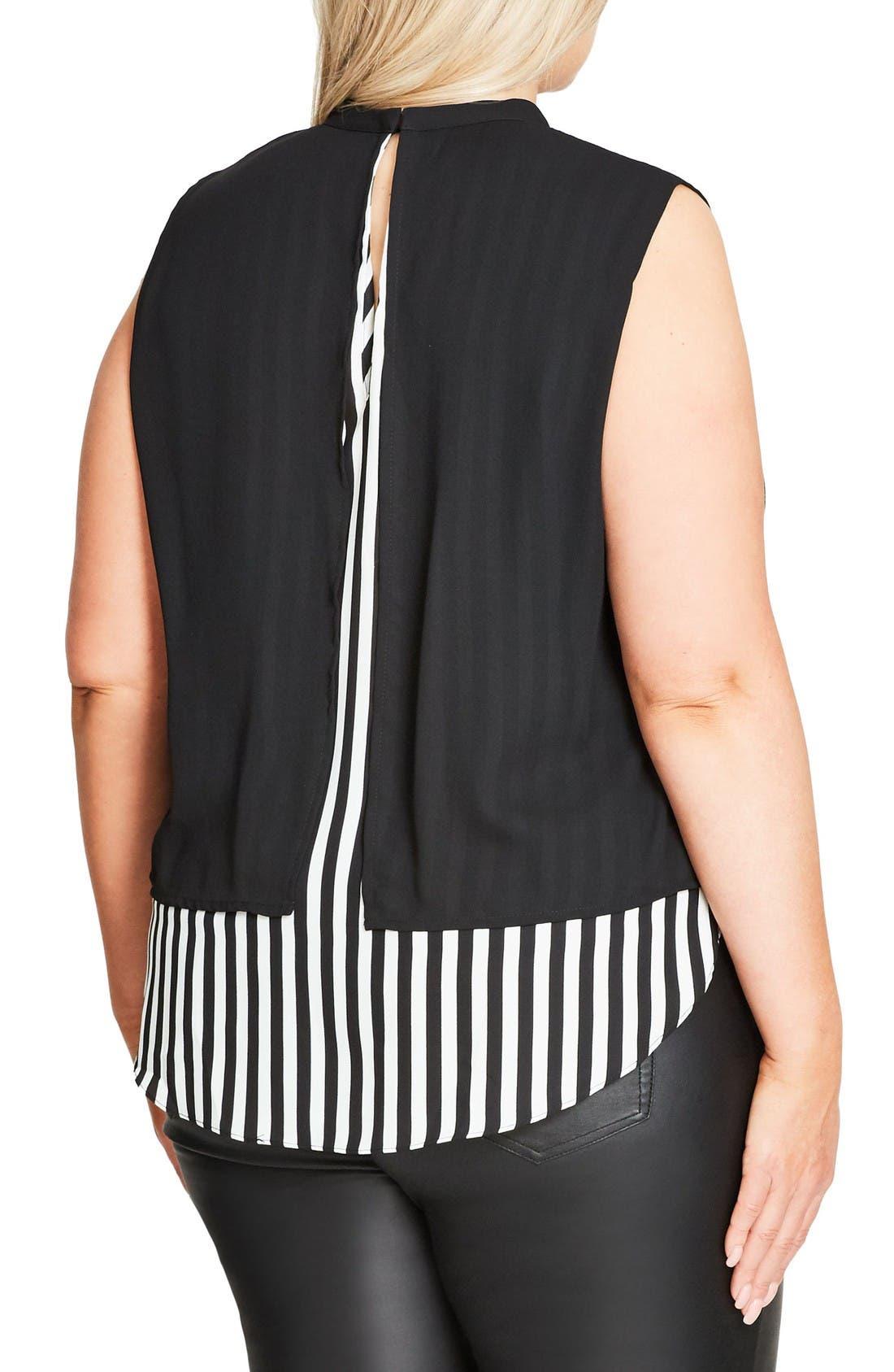 Peggy Lou Split Back Double Layer Top,                             Alternate thumbnail 3, color,                             Black